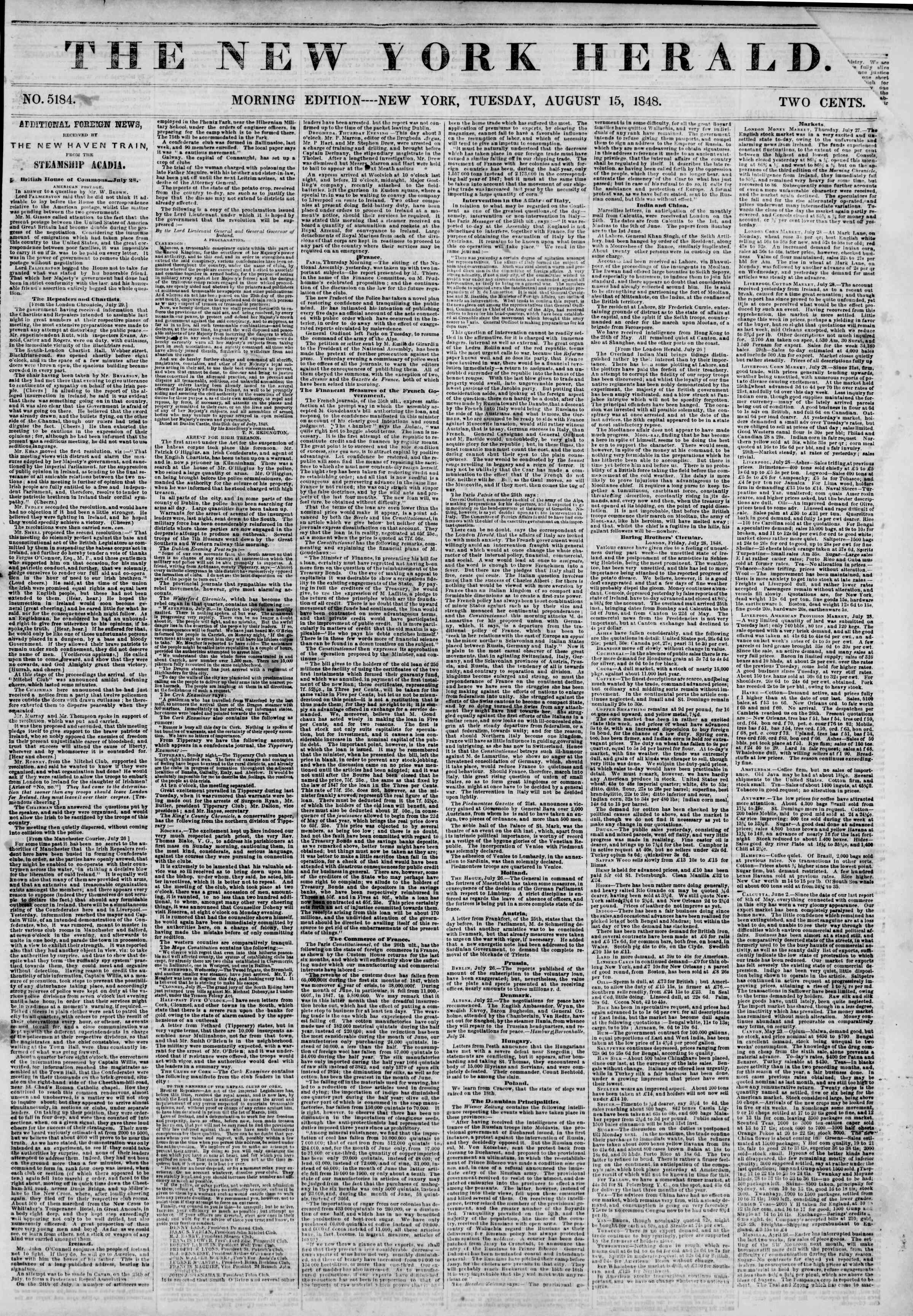 Newspaper of The New York Herald dated August 15, 1848 Page 1