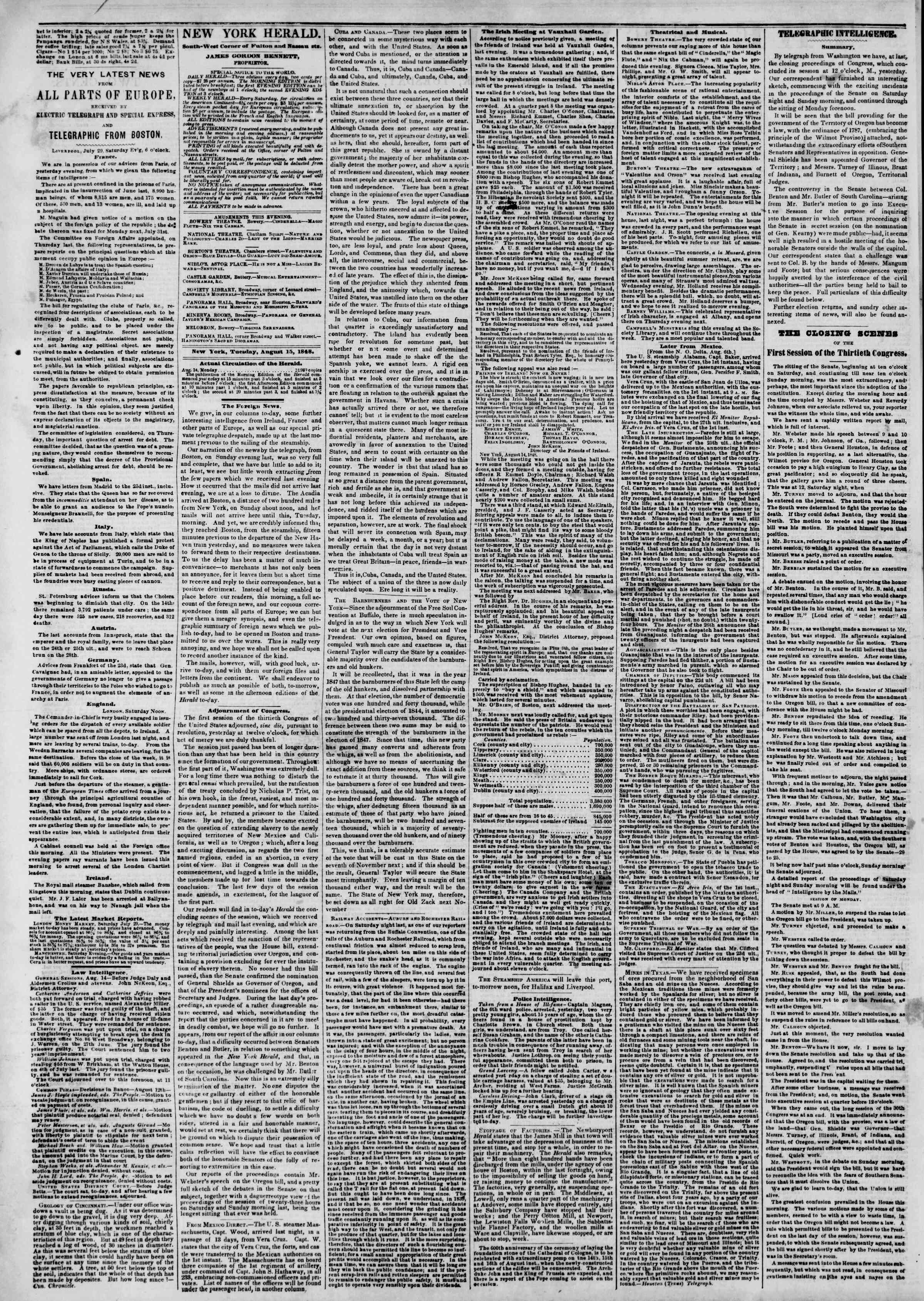 Newspaper of The New York Herald dated August 15, 1848 Page 2