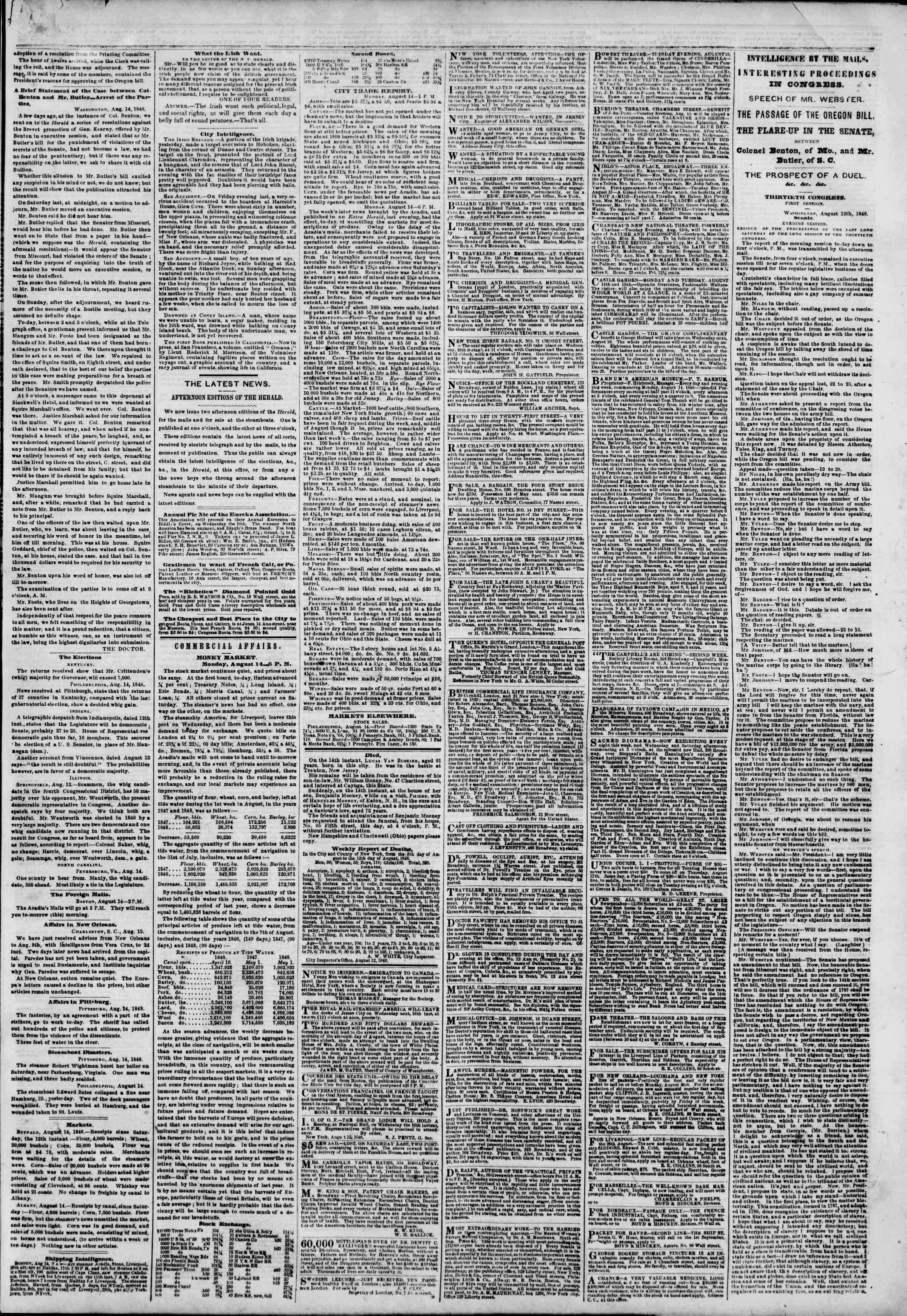 Newspaper of The New York Herald dated August 15, 1848 Page 3