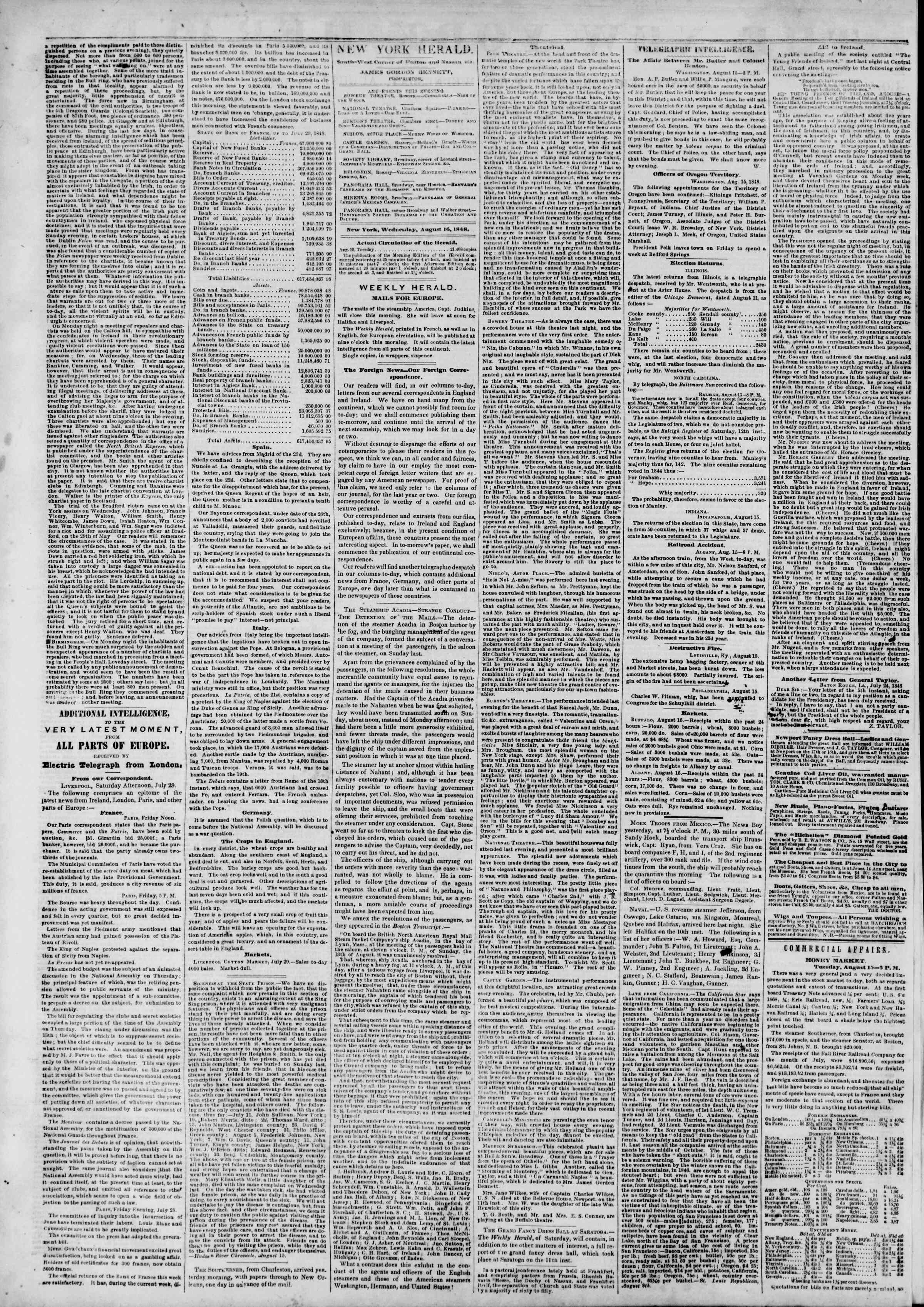 Newspaper of The New York Herald dated August 16, 1848 Page 2