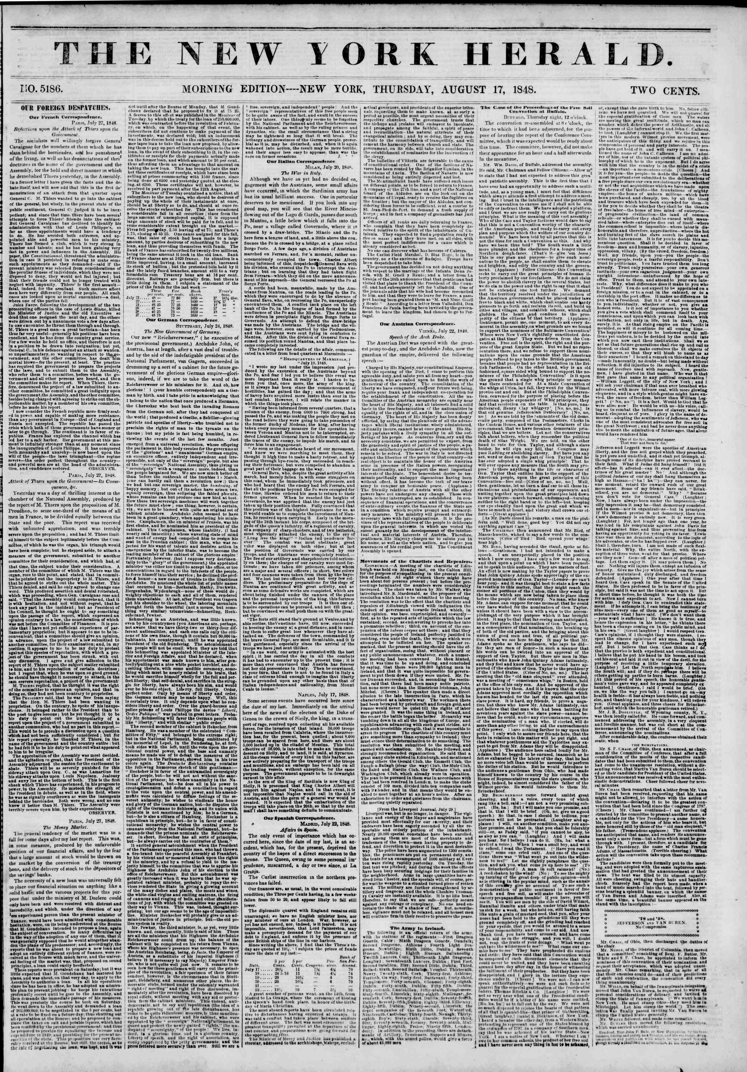 Newspaper of The New York Herald dated August 17, 1848 Page 1