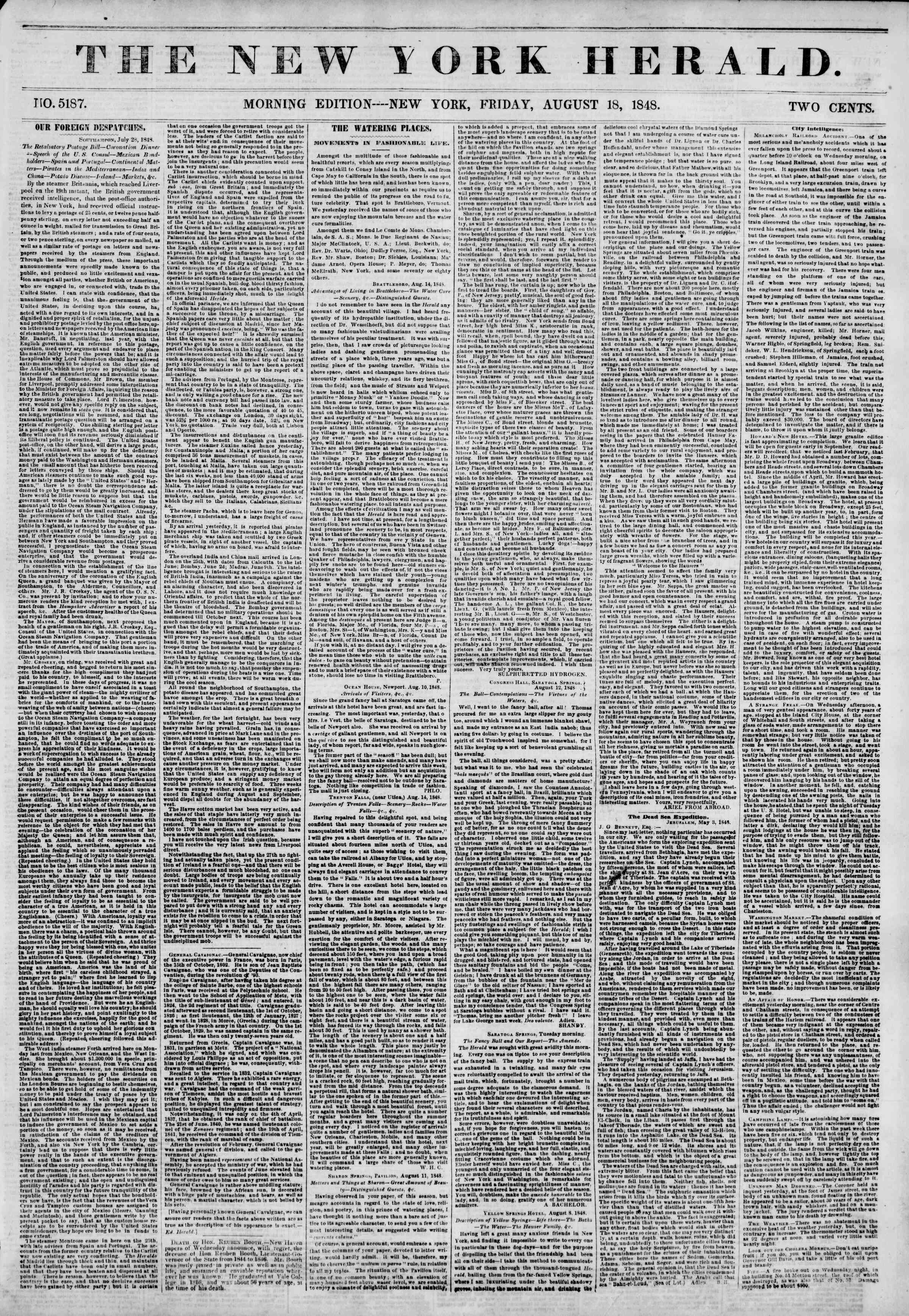 Newspaper of The New York Herald dated August 18, 1848 Page 1