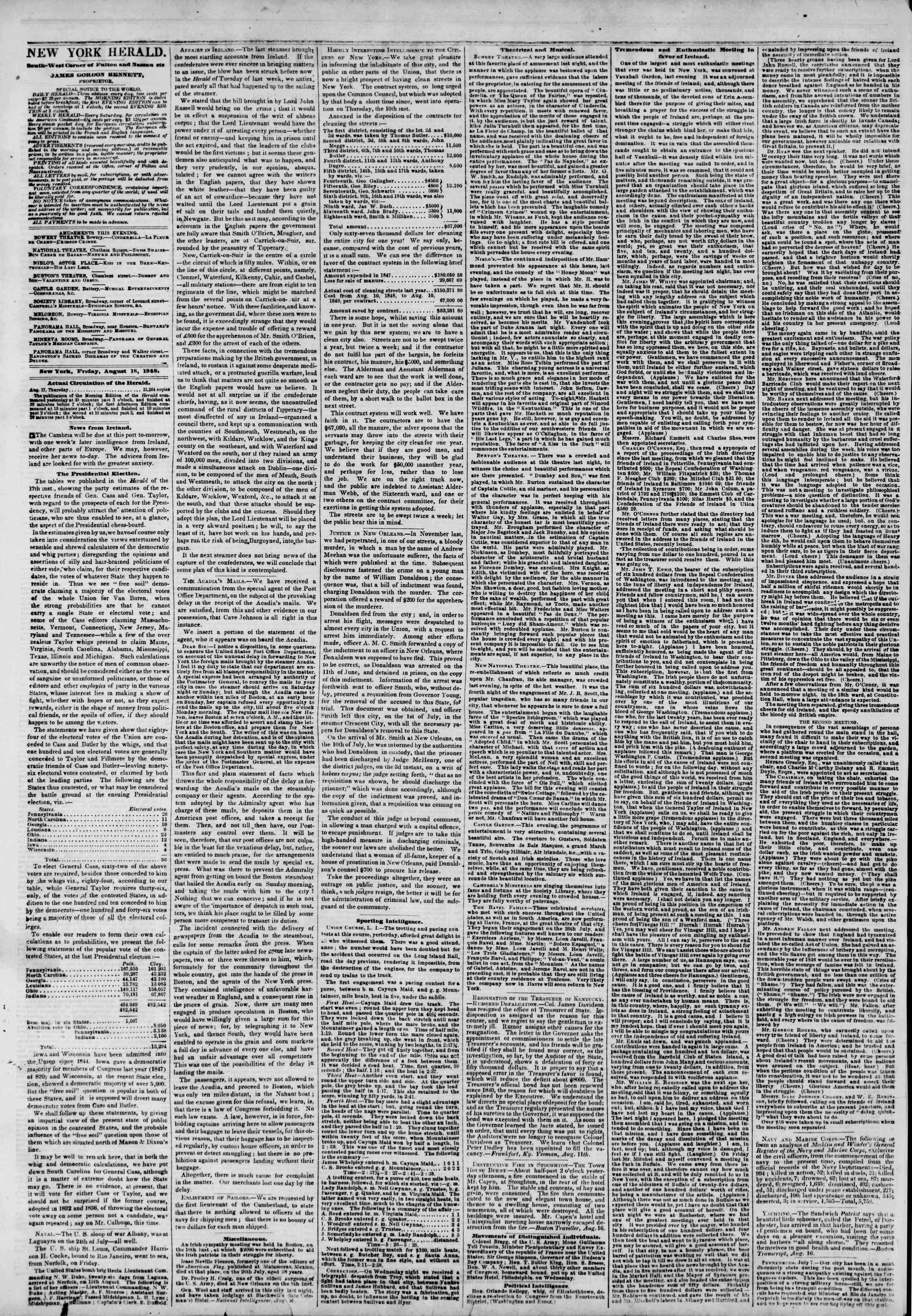 Newspaper of The New York Herald dated August 18, 1848 Page 2