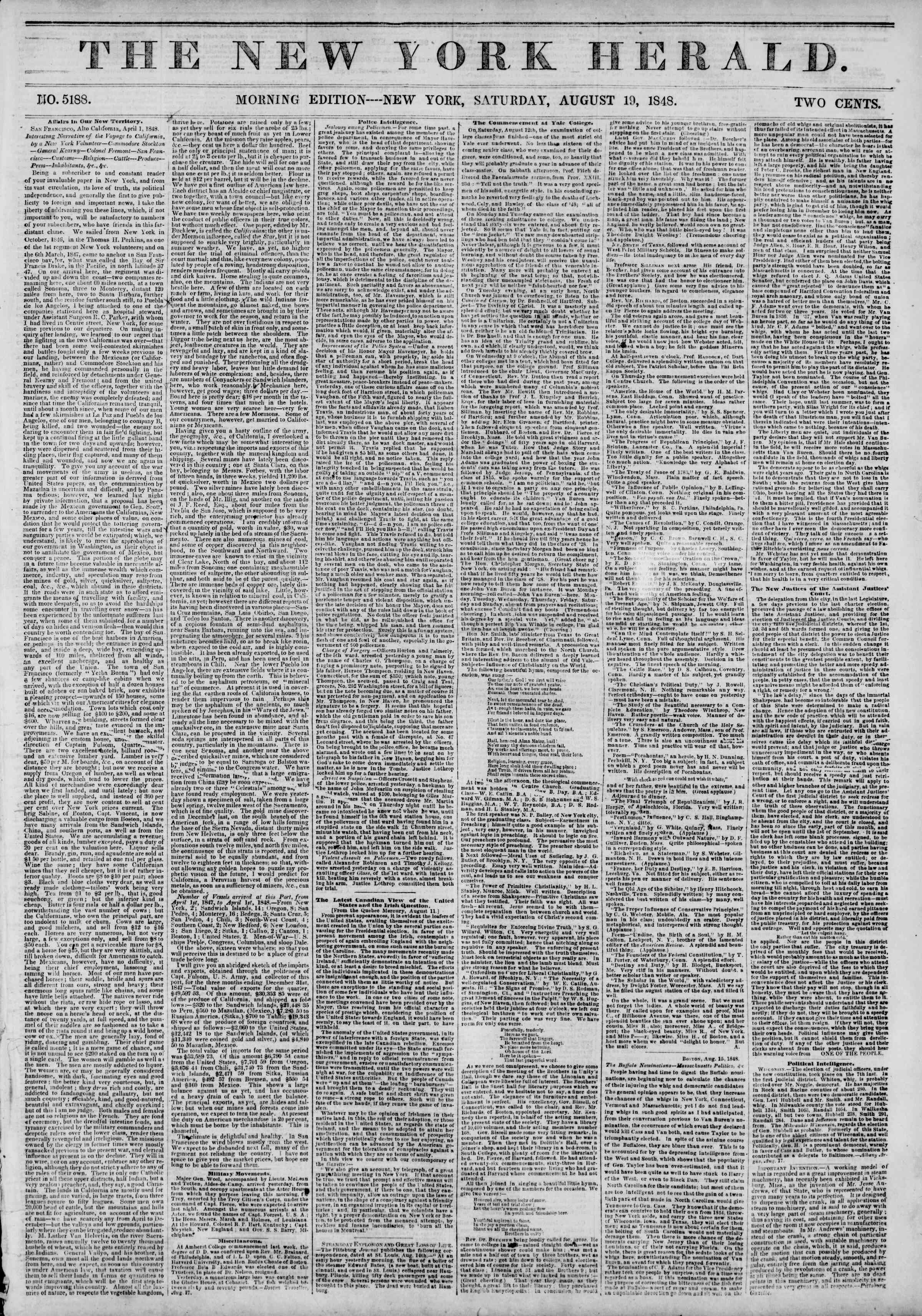 Newspaper of The New York Herald dated August 19, 1848 Page 1
