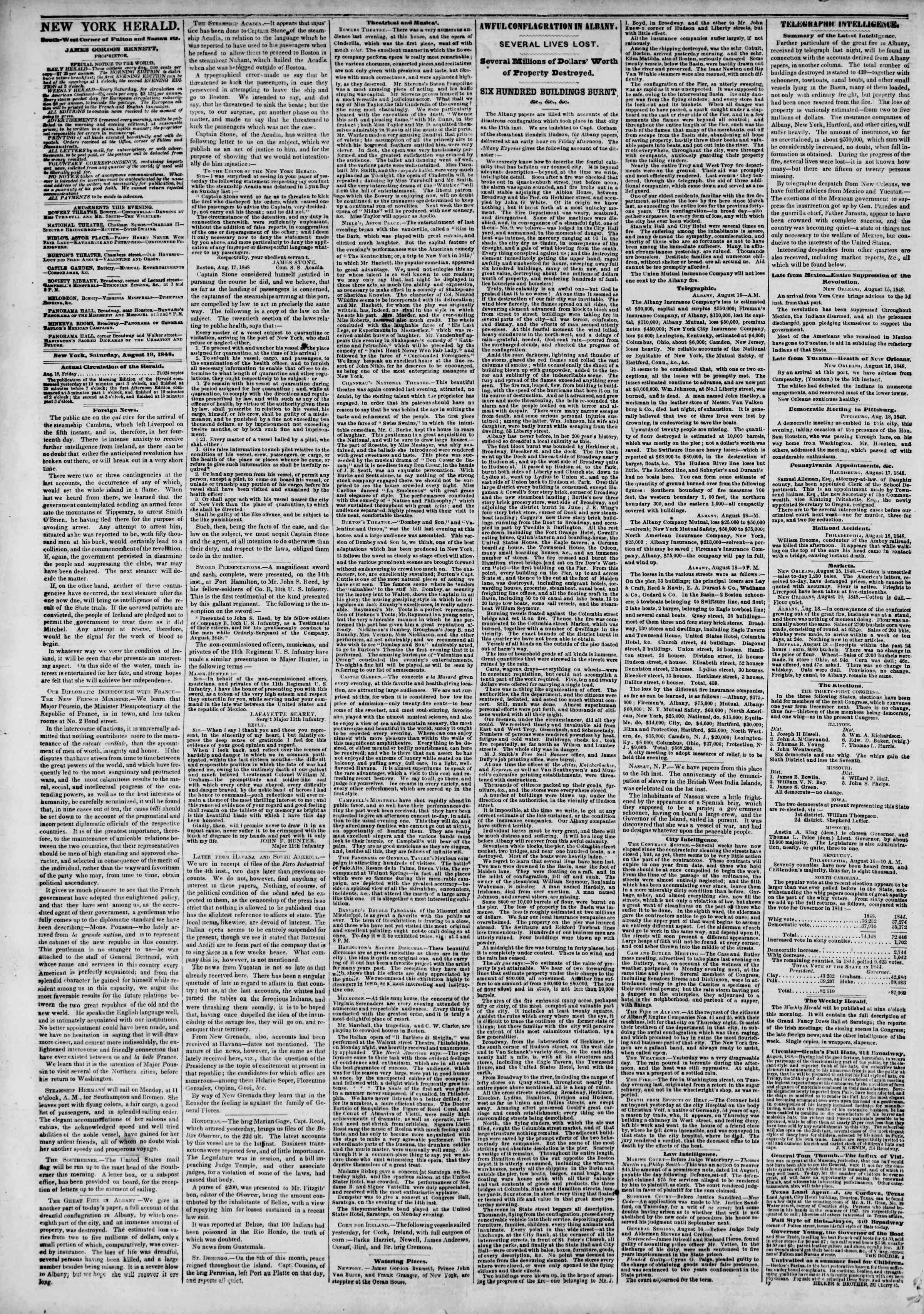 Newspaper of The New York Herald dated August 19, 1848 Page 2