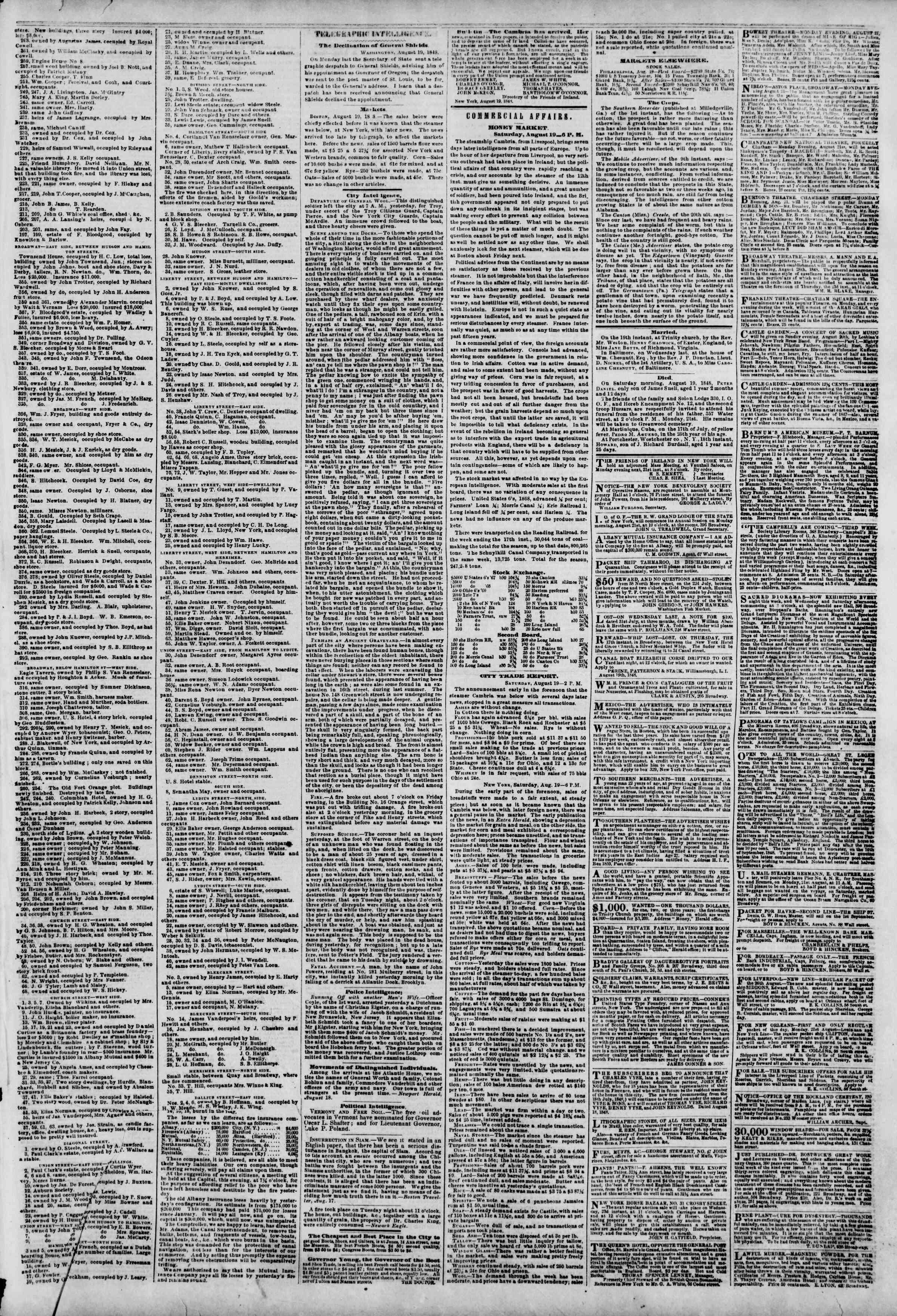 Newspaper of The New York Herald dated August 20, 1848 Page 3