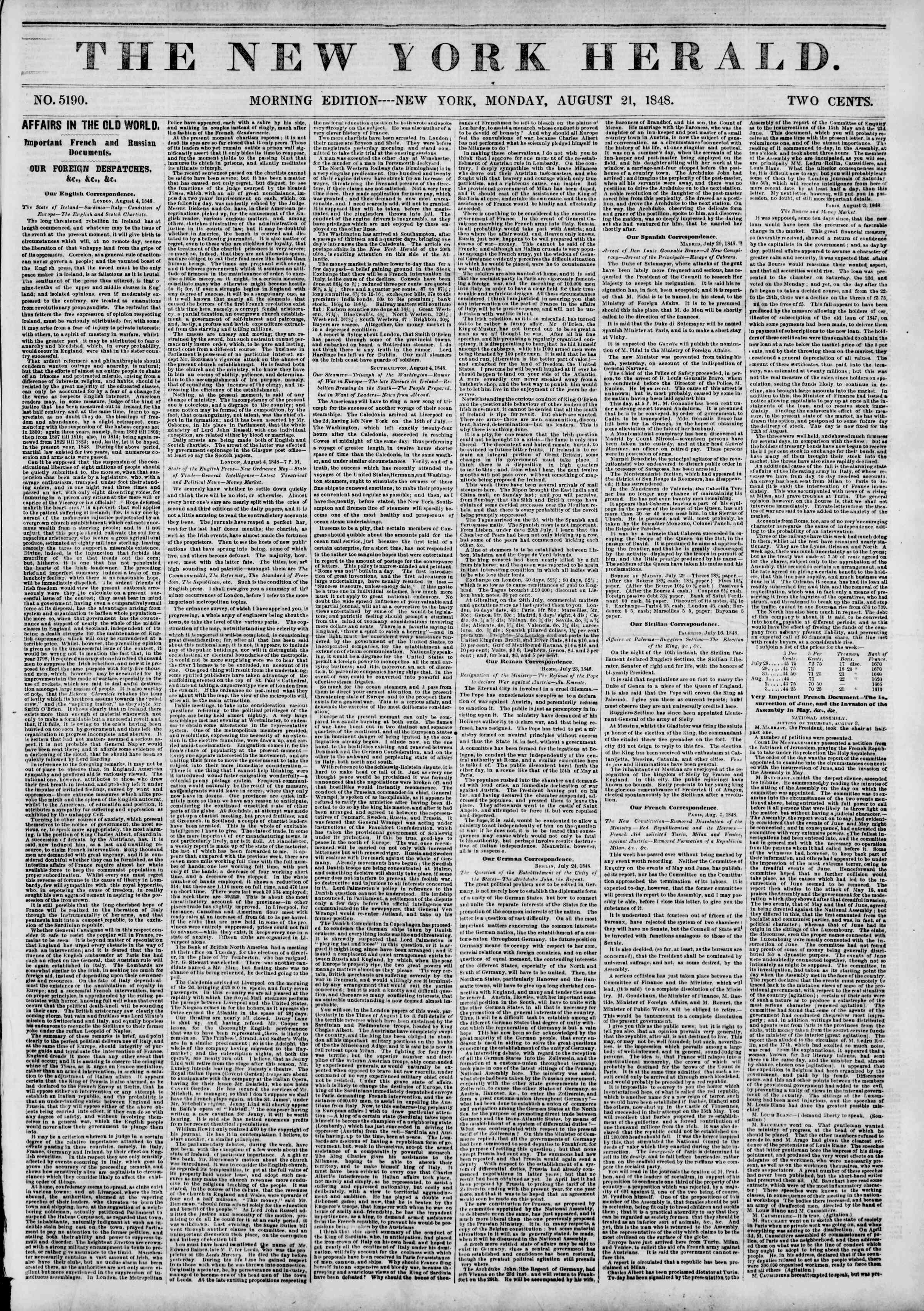 Newspaper of The New York Herald dated August 21, 1848 Page 1