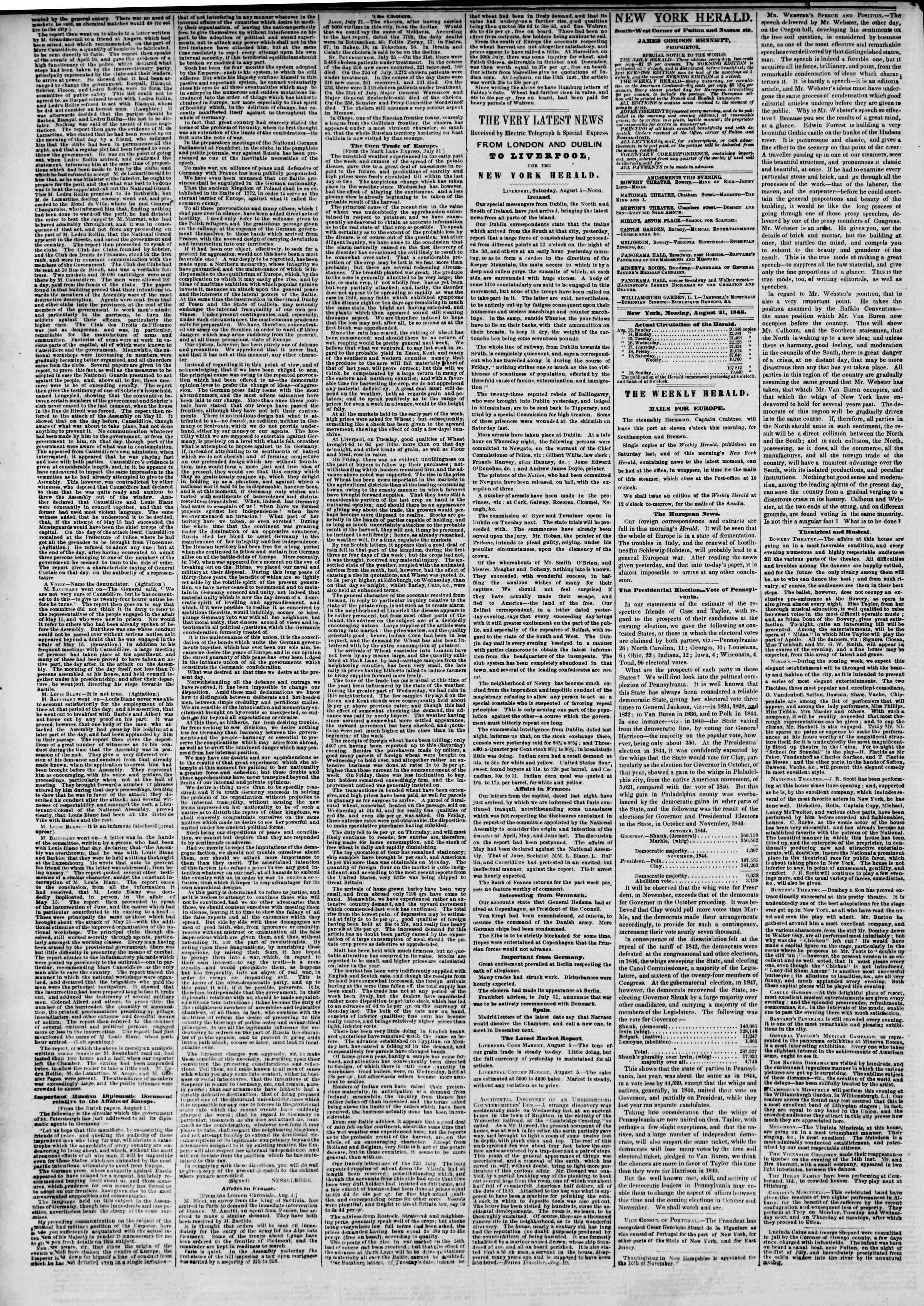 Newspaper of The New York Herald dated August 21, 1848 Page 2