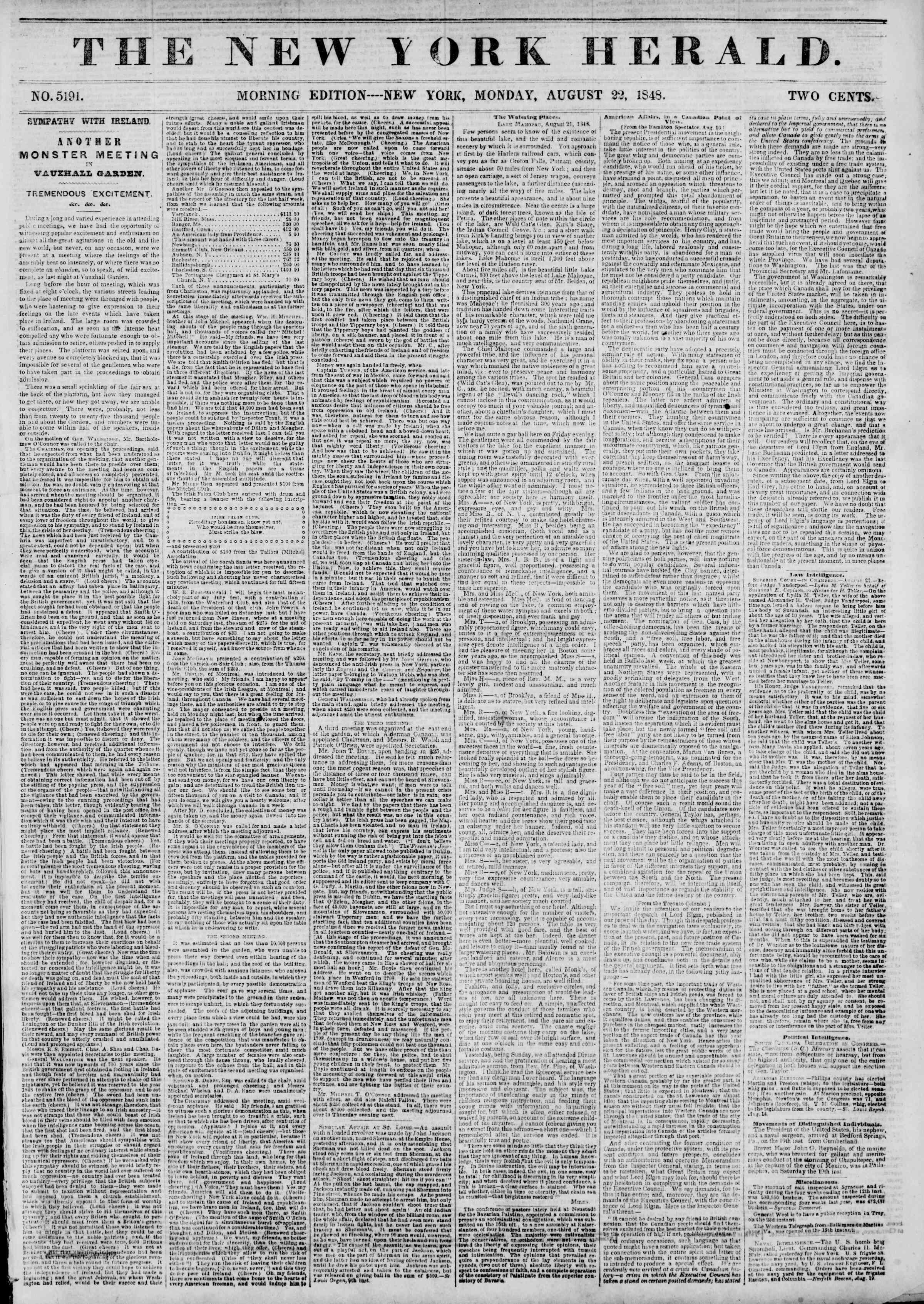 Newspaper of The New York Herald dated August 22, 1848 Page 1