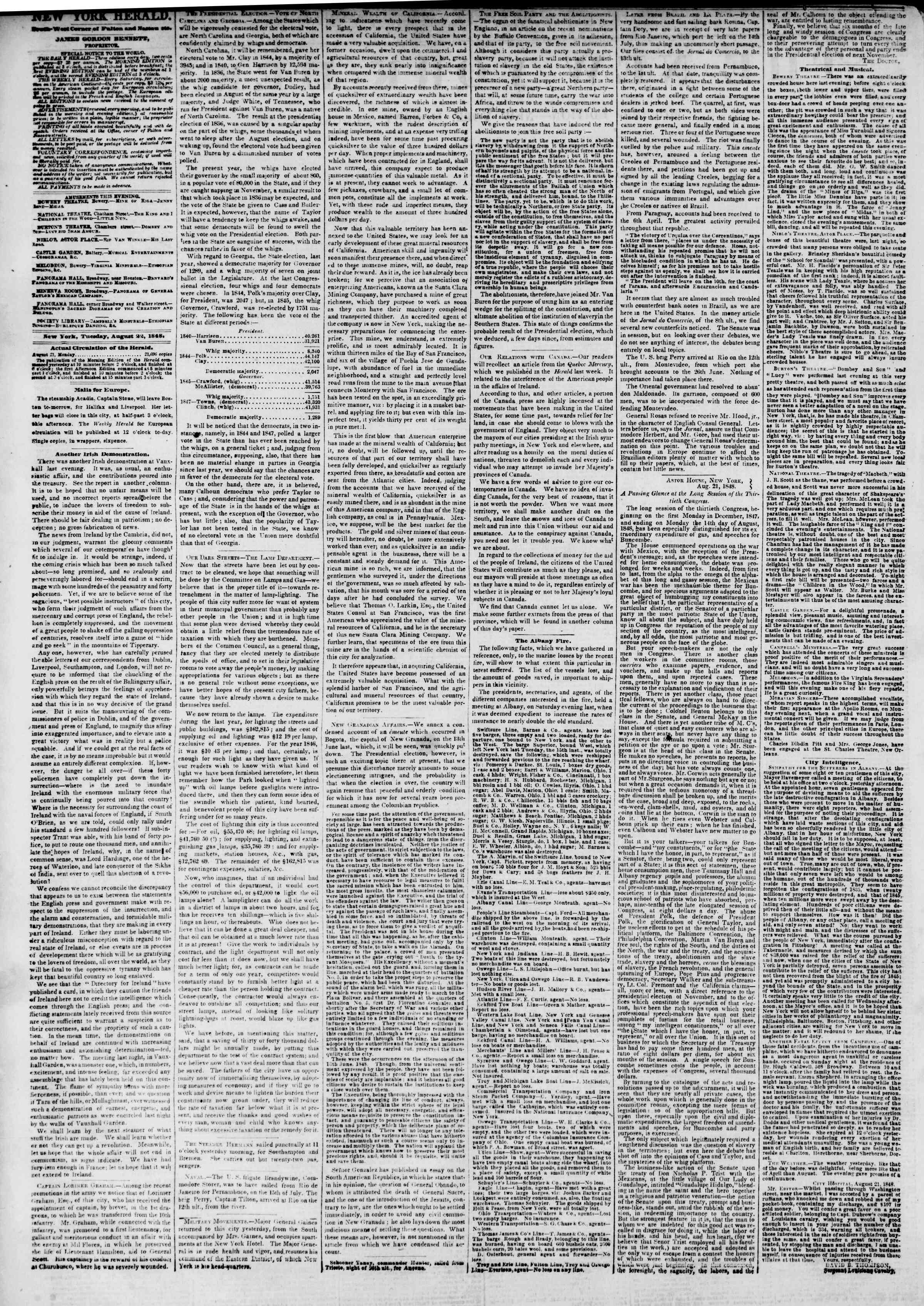 Newspaper of The New York Herald dated August 22, 1848 Page 2