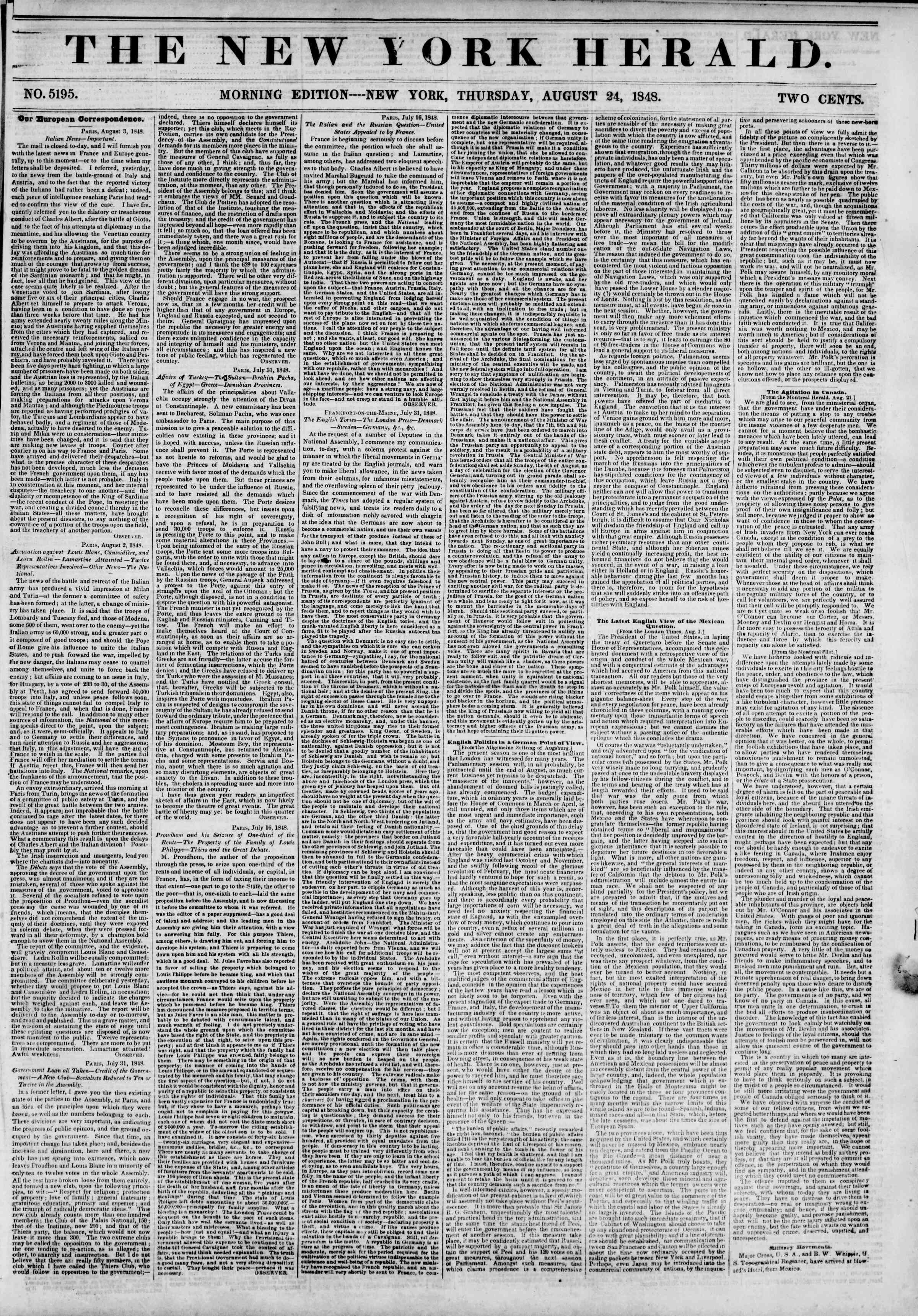 Newspaper of The New York Herald dated August 24, 1848 Page 1