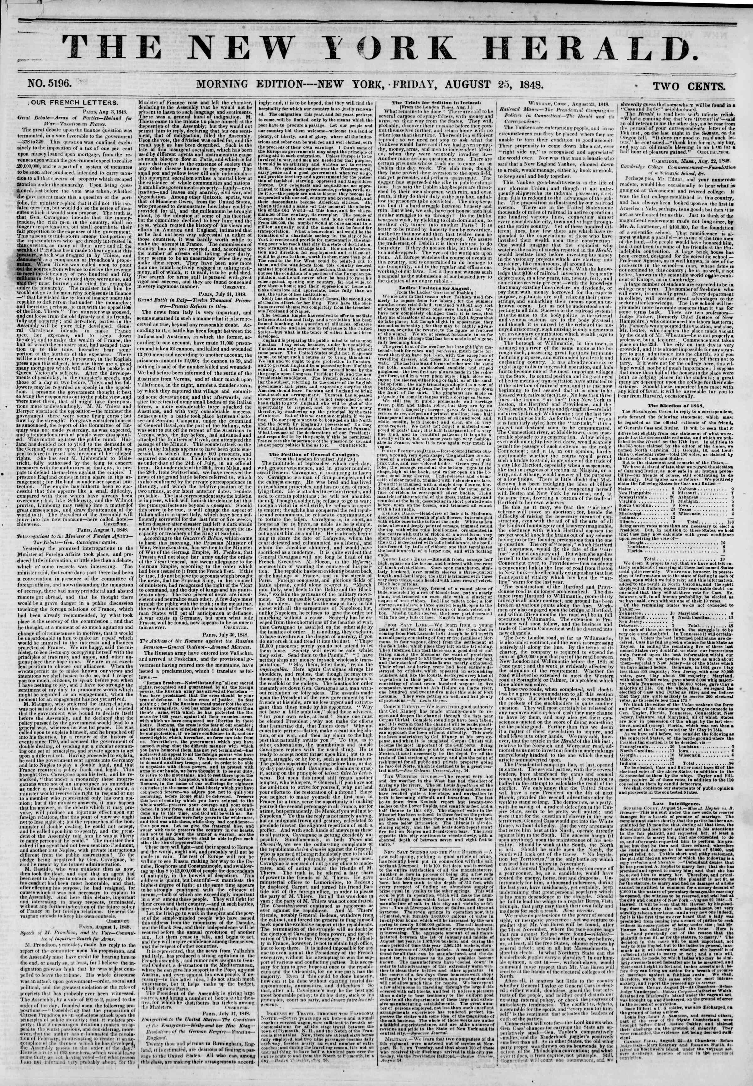 Newspaper of The New York Herald dated August 25, 1848 Page 1