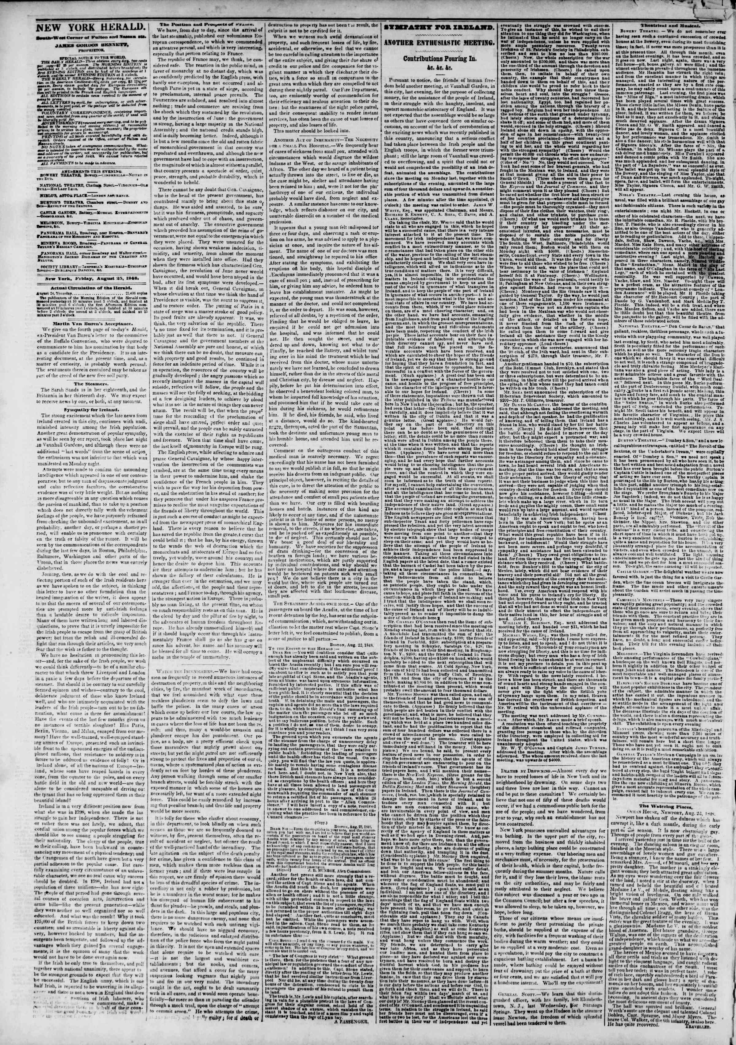 Newspaper of The New York Herald dated August 25, 1848 Page 2