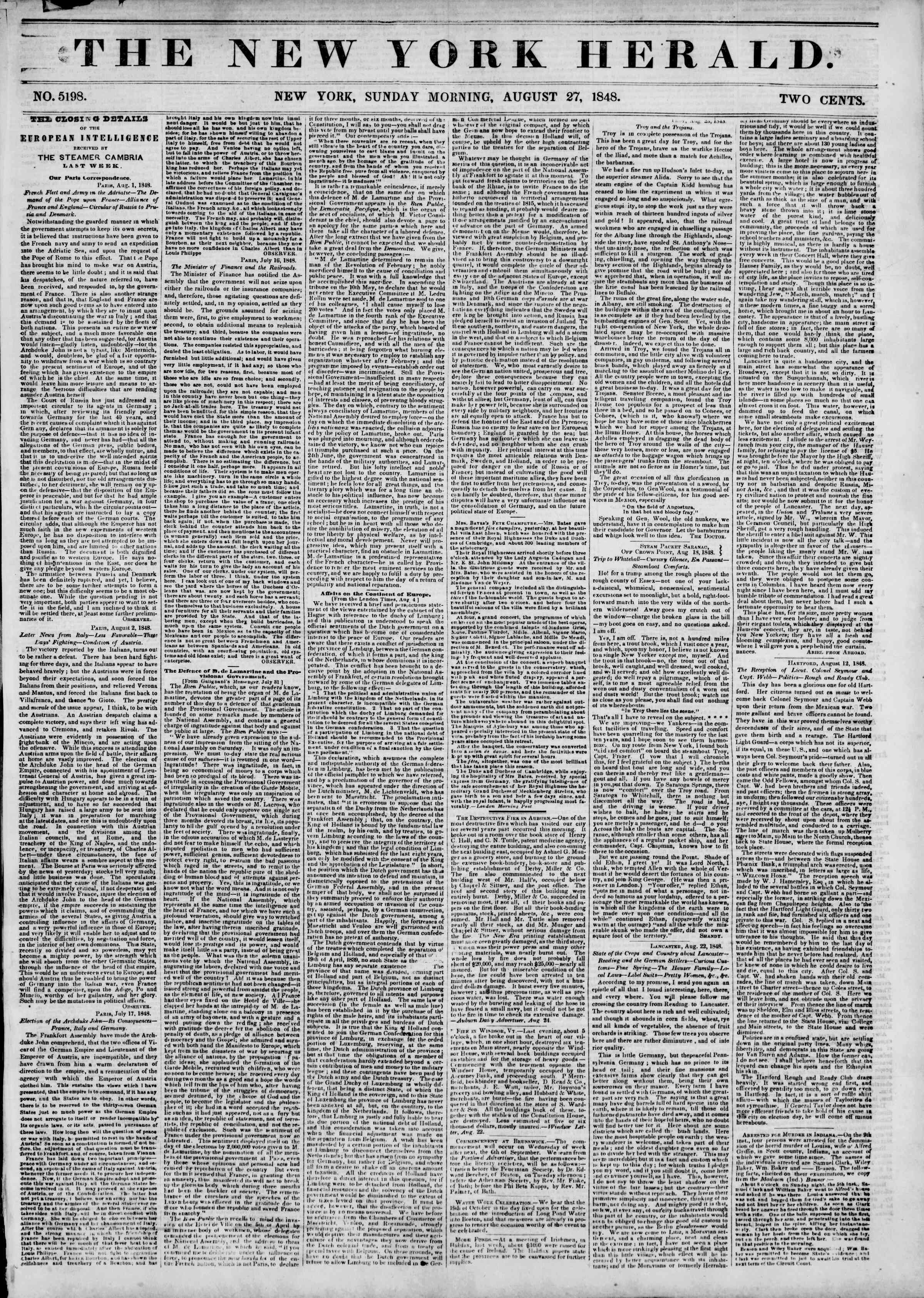Newspaper of The New York Herald dated August 27, 1848 Page 1