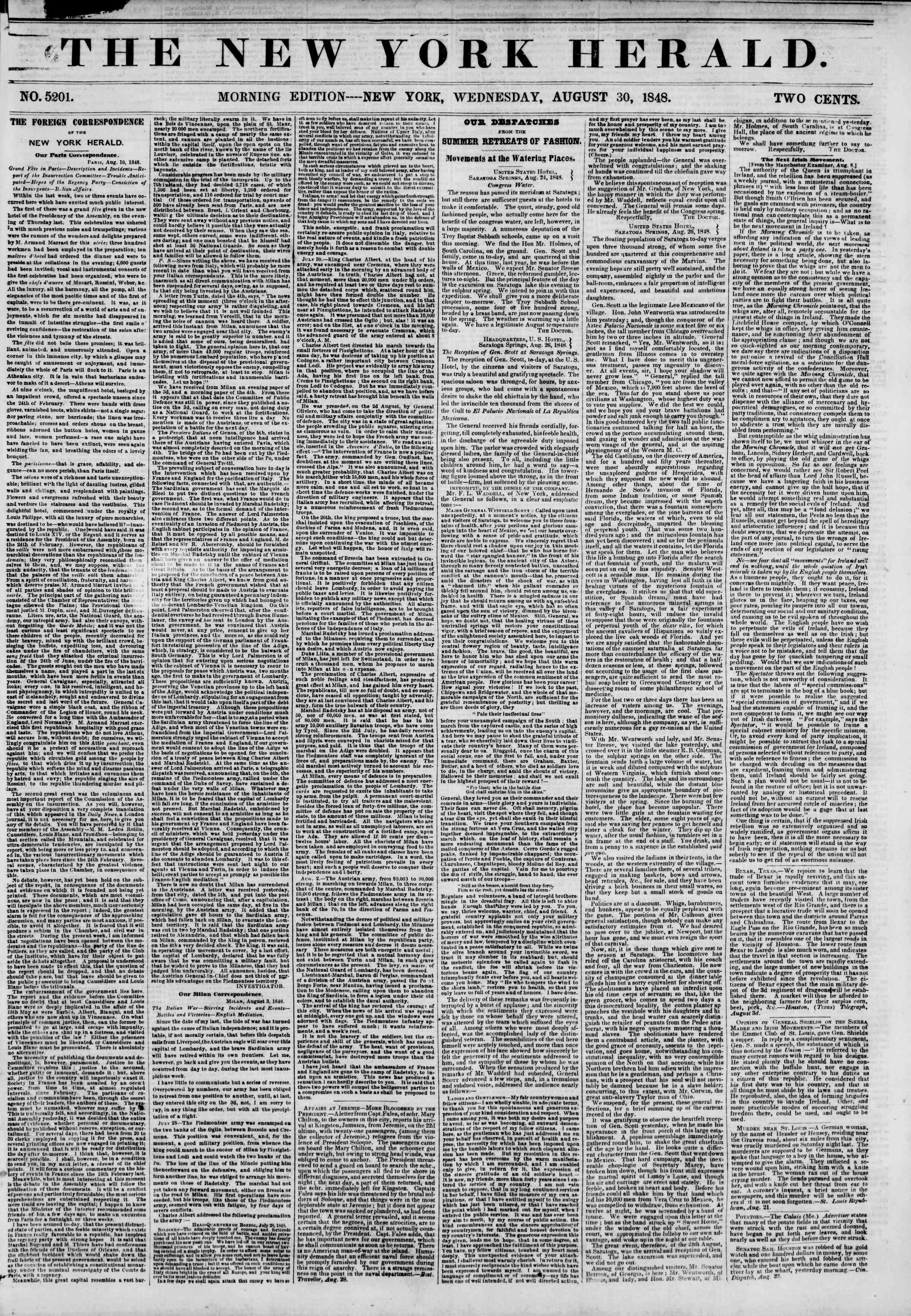 Newspaper of The New York Herald dated August 30, 1848 Page 1