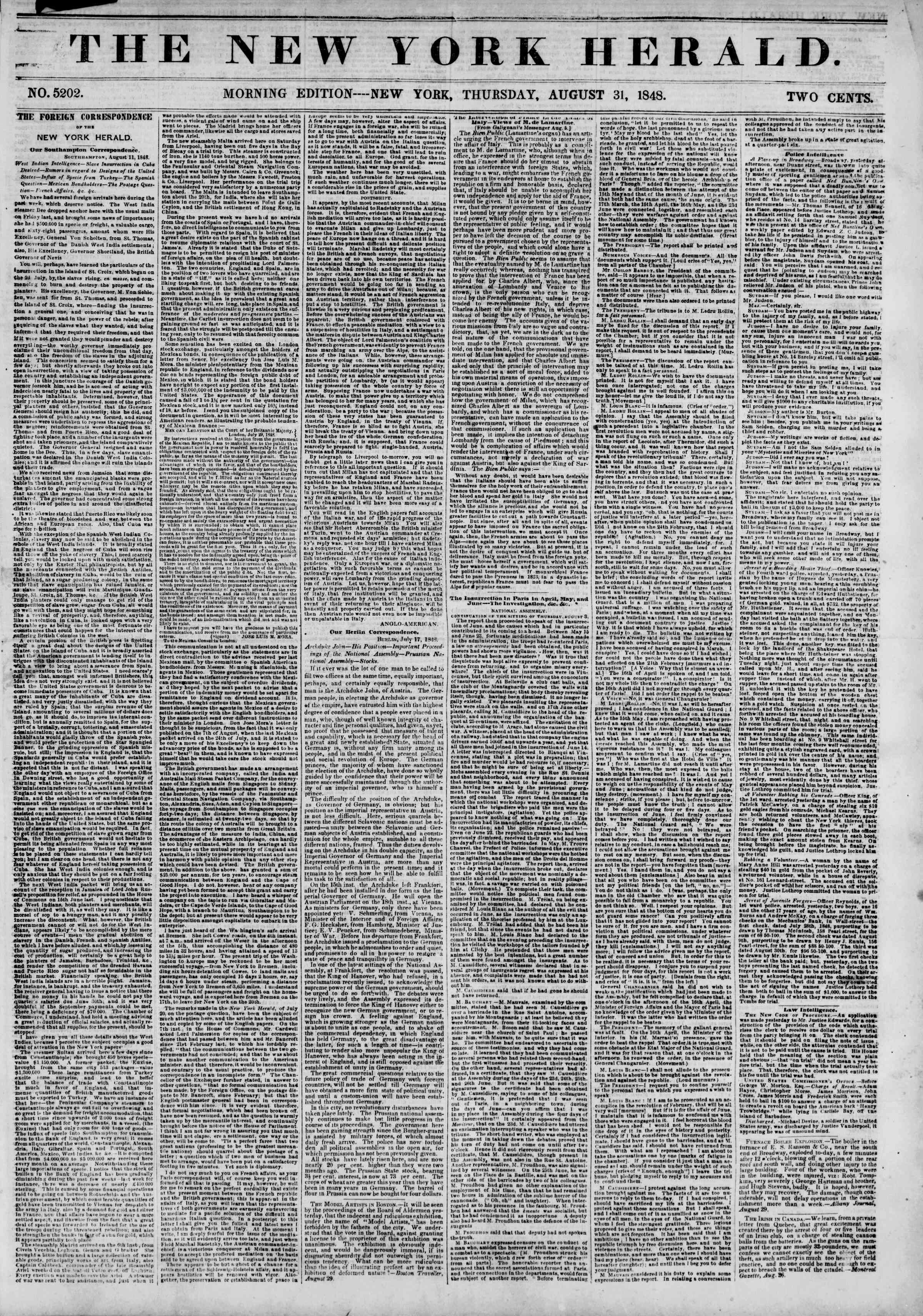 Newspaper of The New York Herald dated August 31, 1848 Page 1