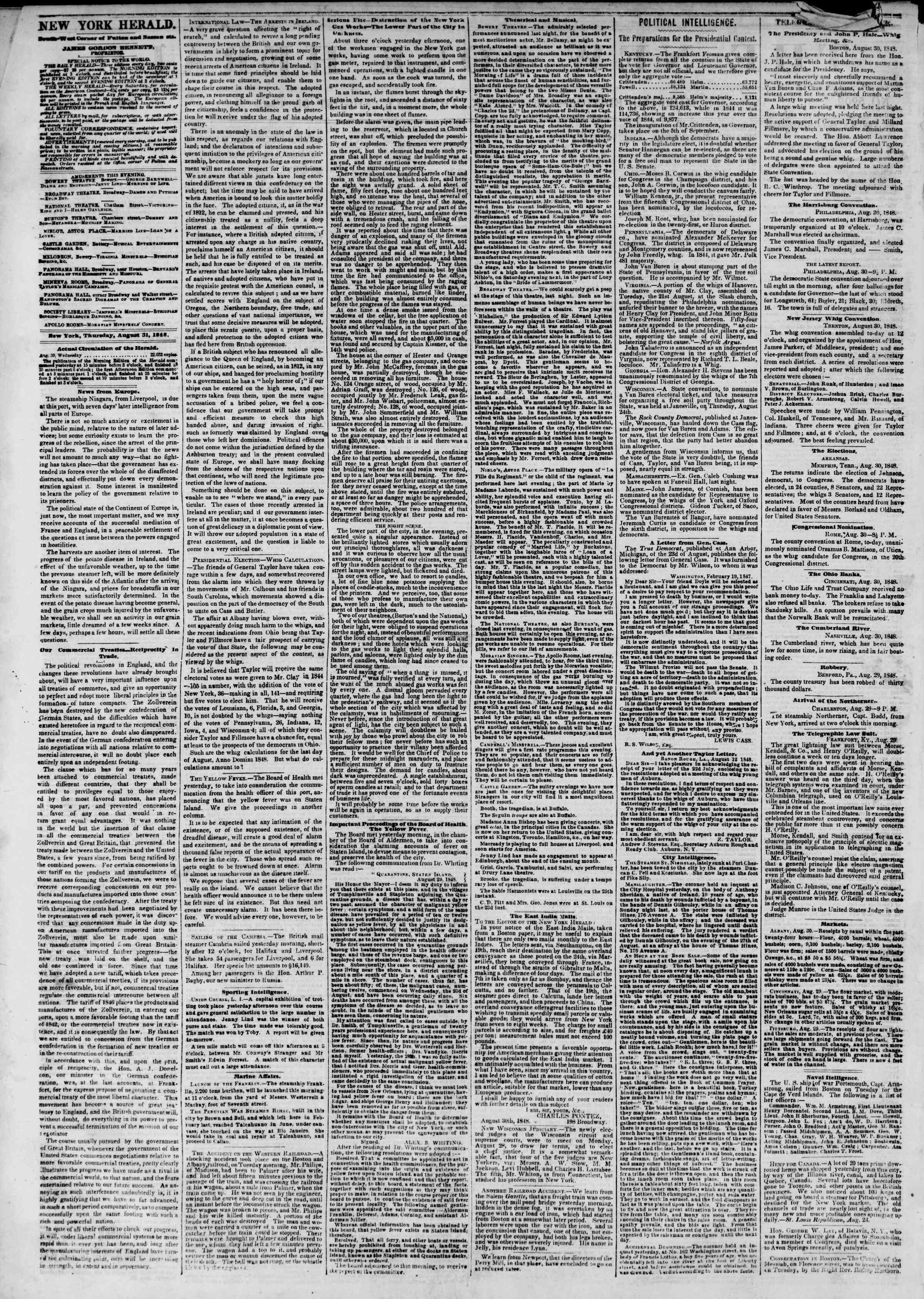 Newspaper of The New York Herald dated August 31, 1848 Page 2