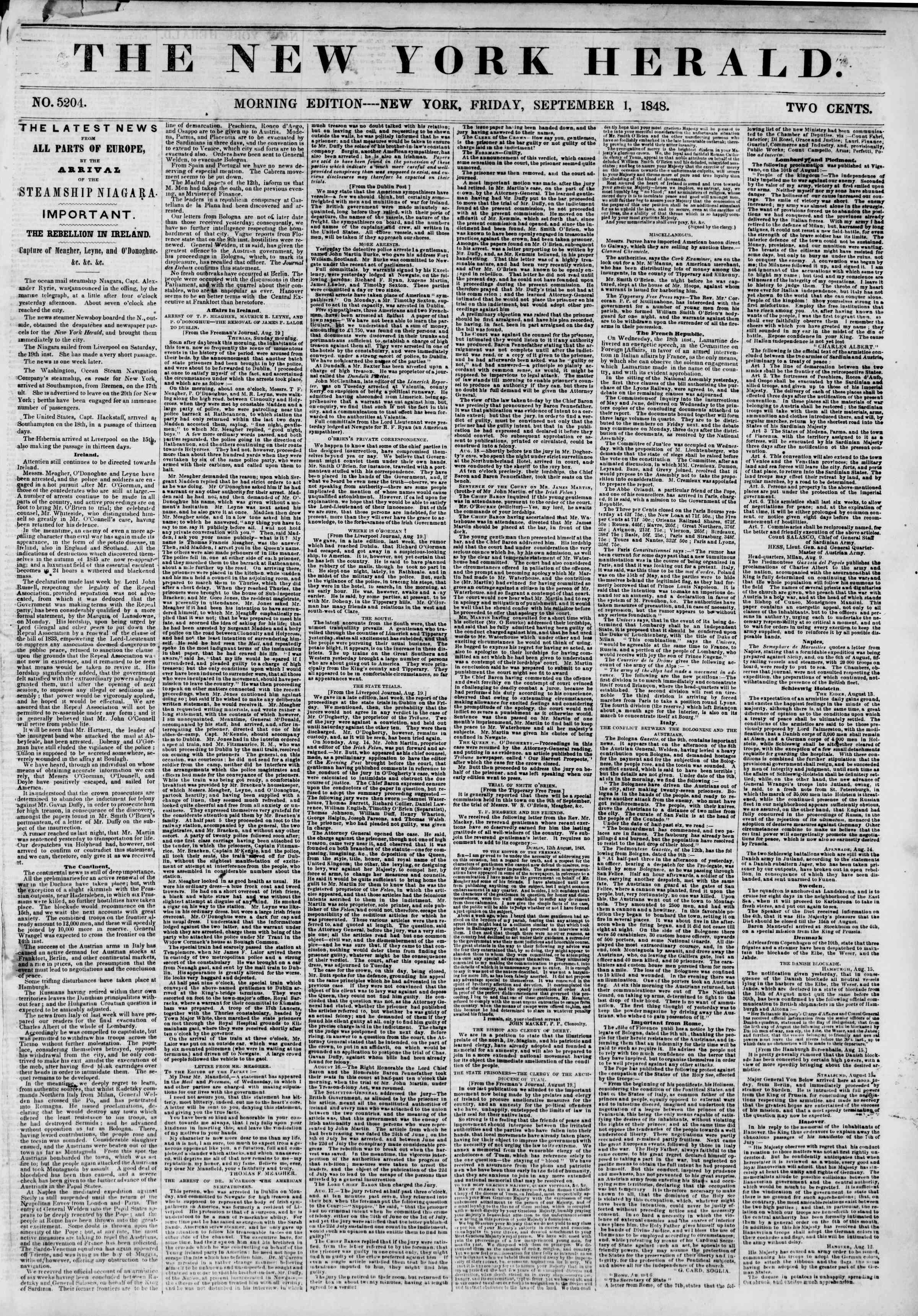 Newspaper of The New York Herald dated September 1, 1848 Page 1