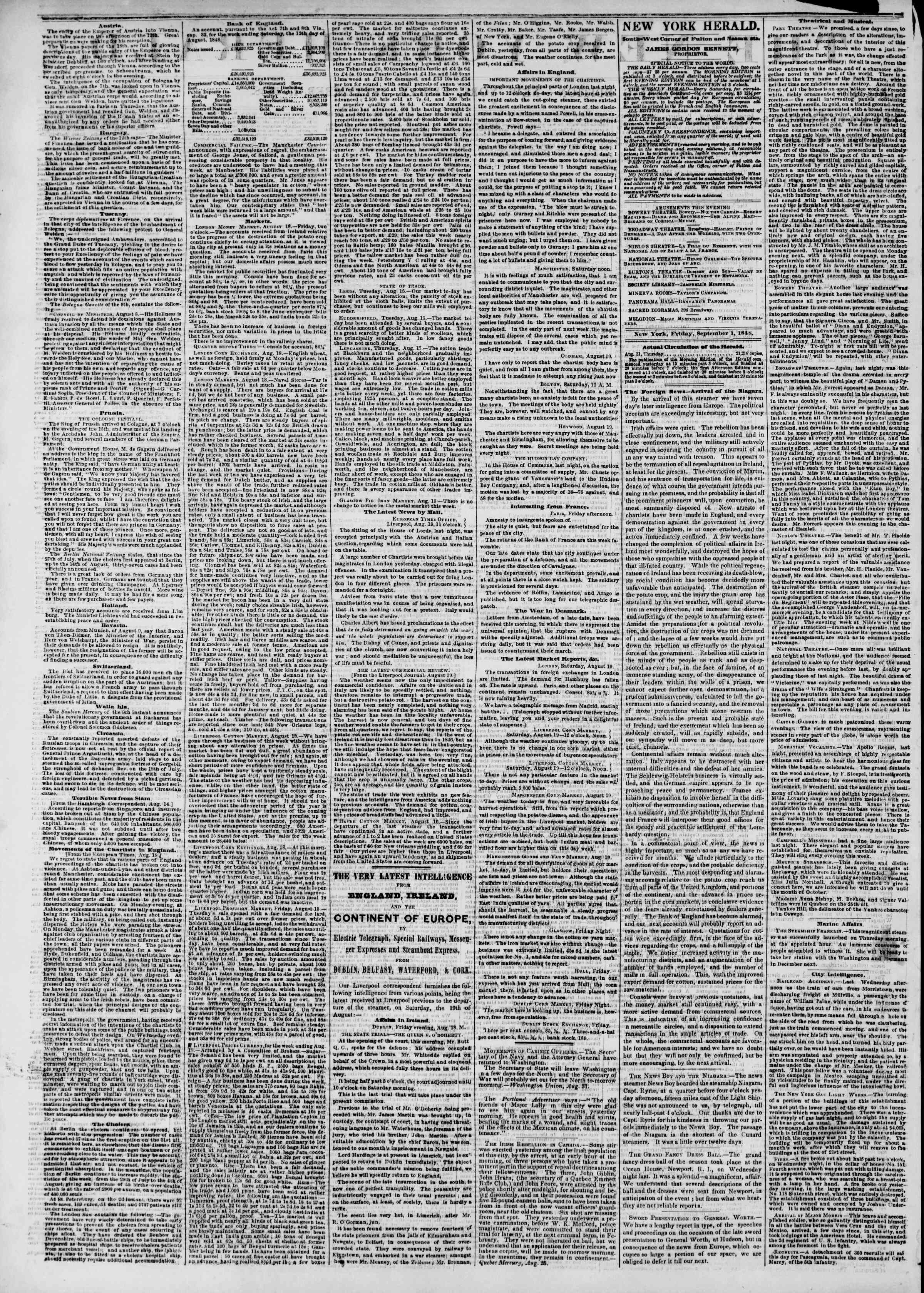 Newspaper of The New York Herald dated September 1, 1848 Page 2