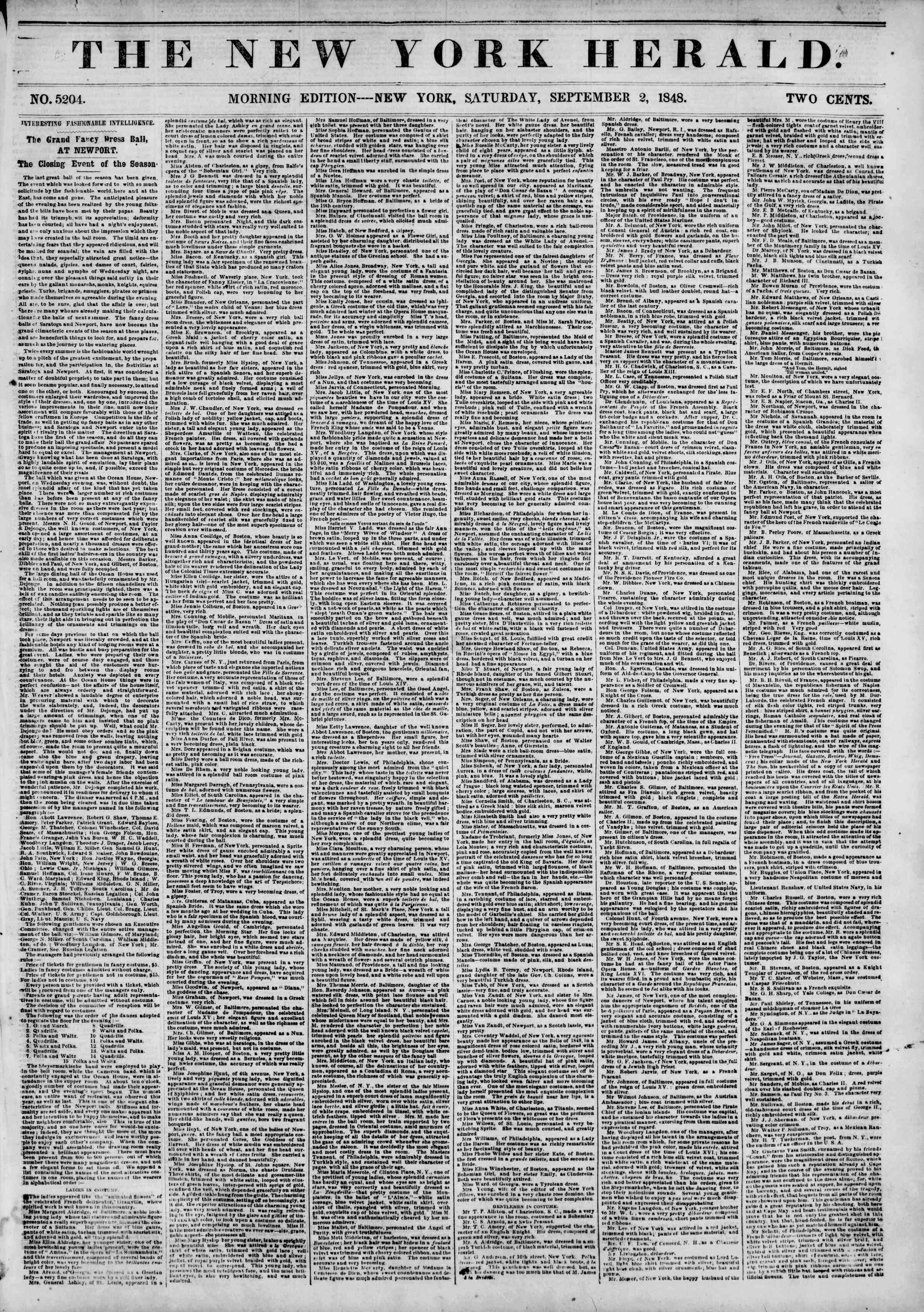 Newspaper of The New York Herald dated September 2, 1848 Page 1