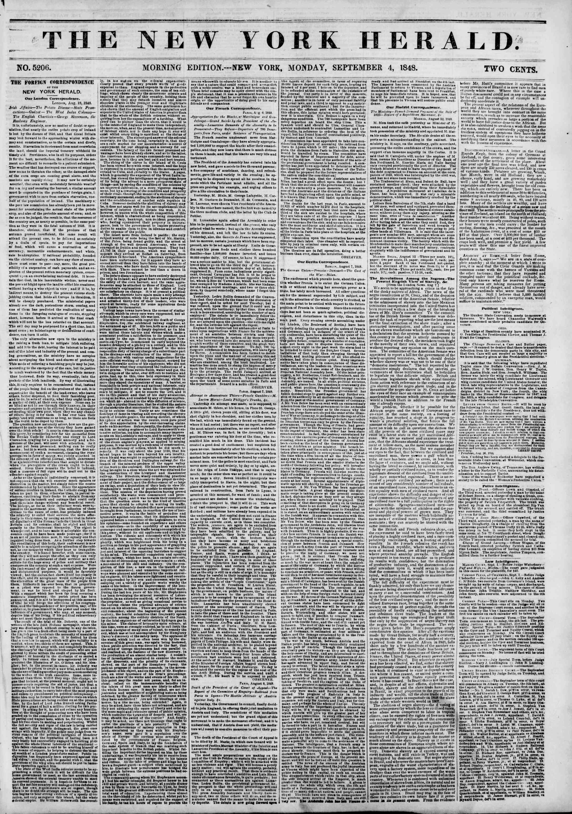 Newspaper of The New York Herald dated September 4, 1848 Page 1