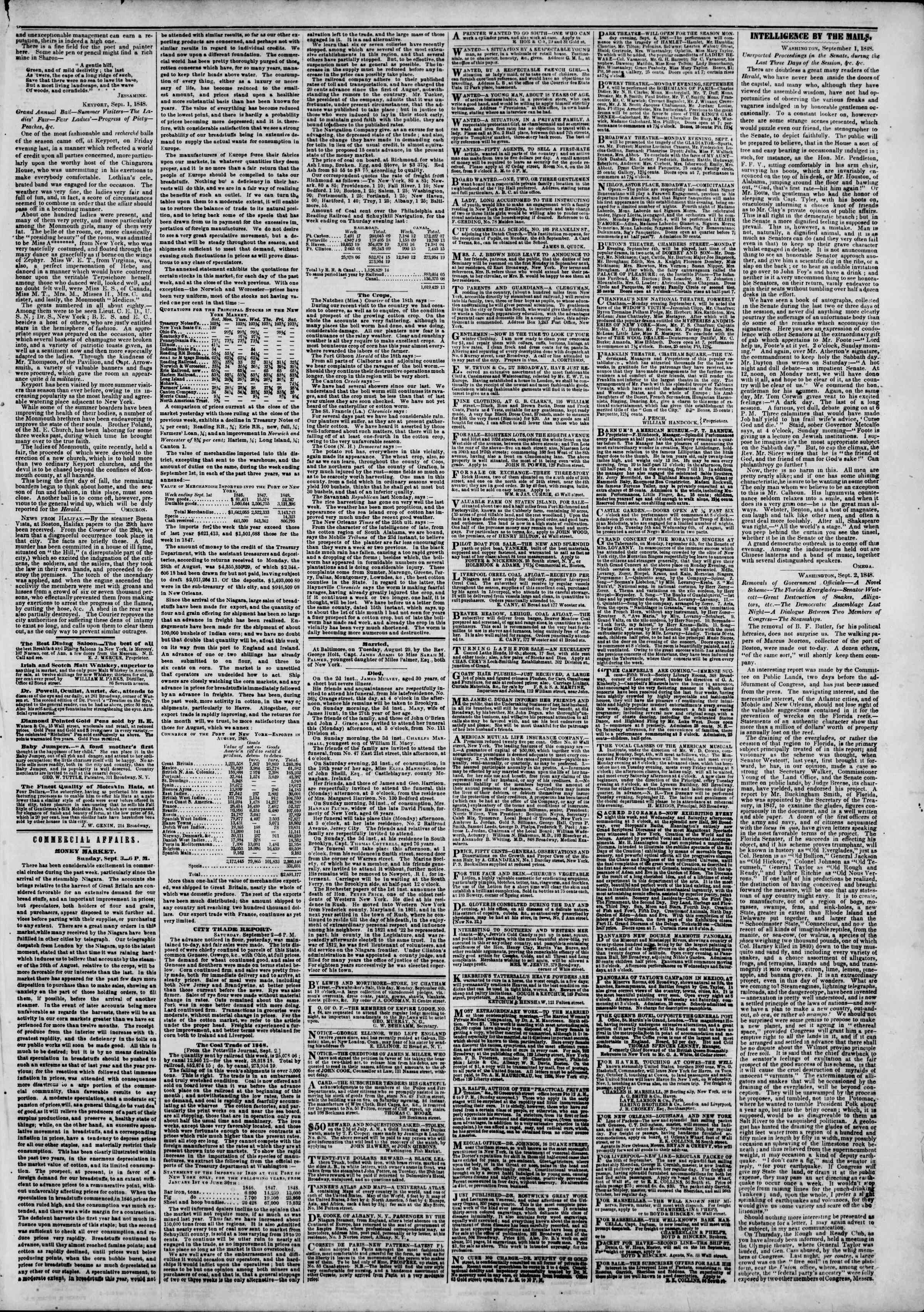 Newspaper of The New York Herald dated September 4, 1848 Page 3