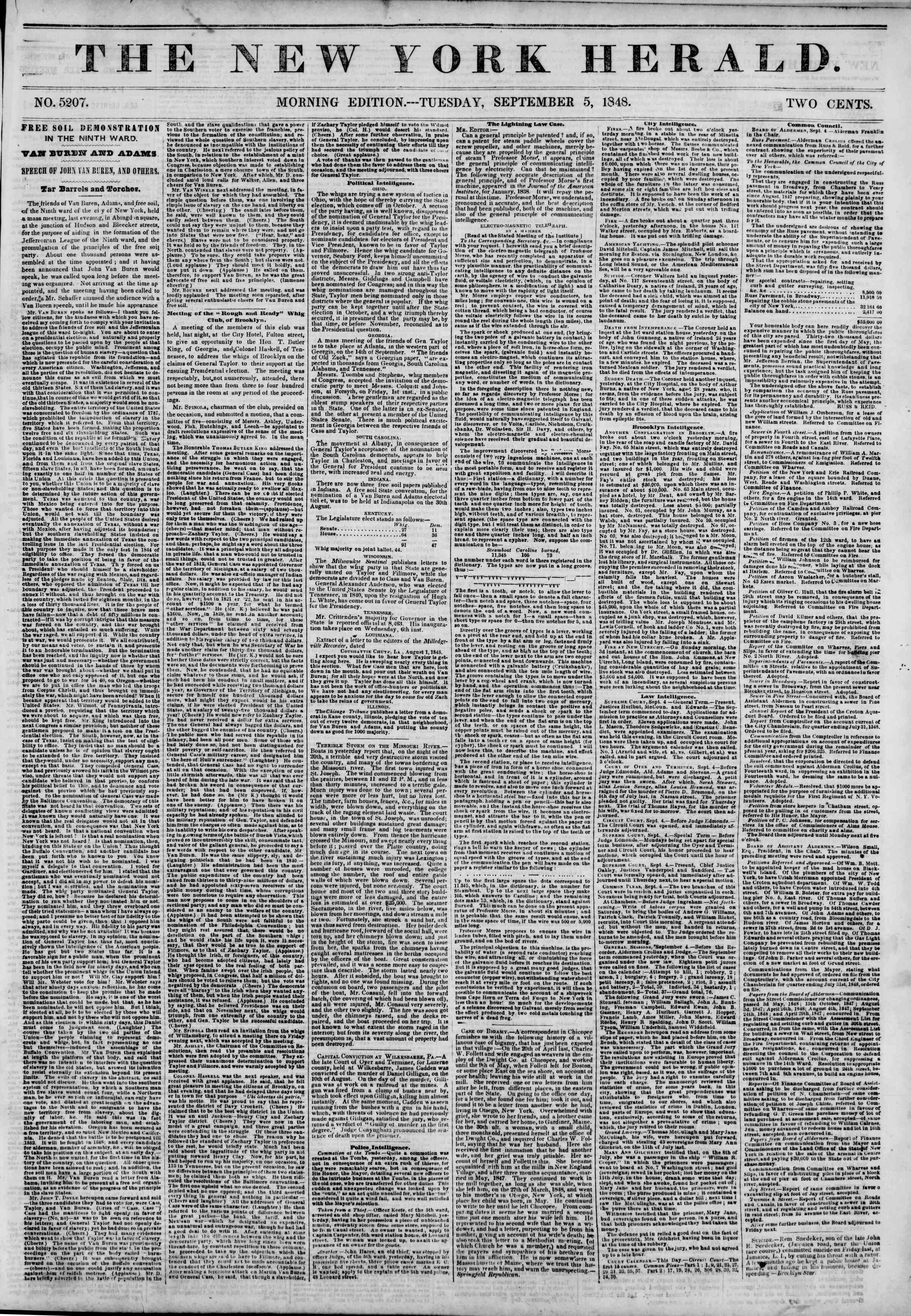 Newspaper of The New York Herald dated September 5, 1848 Page 1
