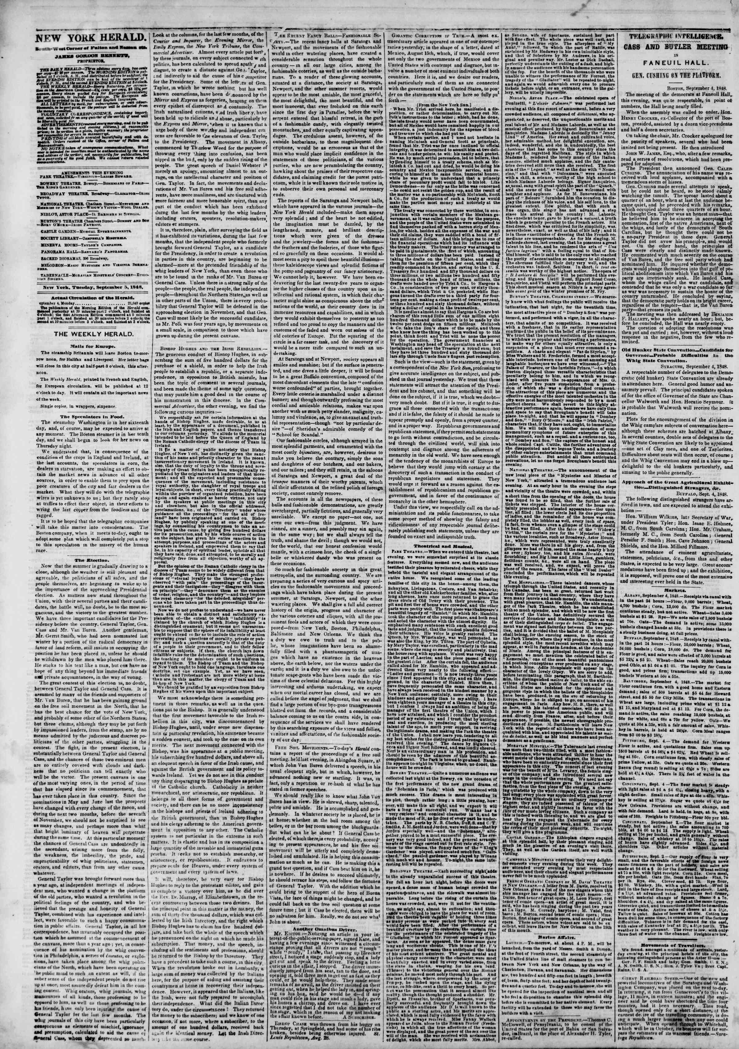 Newspaper of The New York Herald dated September 5, 1848 Page 2