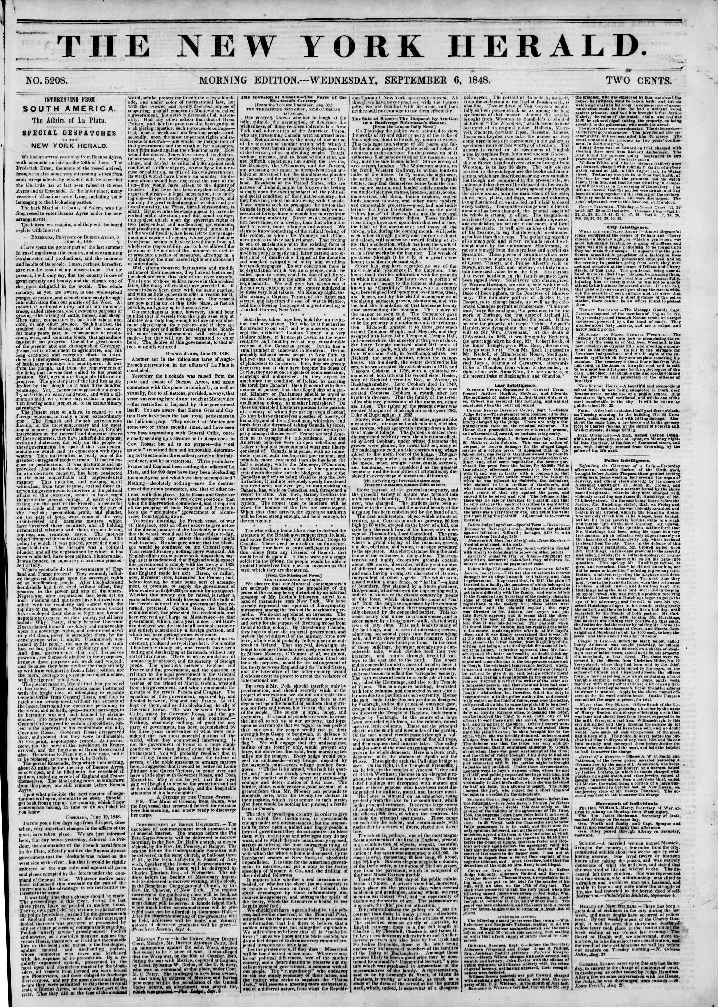 Newspaper of The New York Herald dated September 6, 1848 Page 1