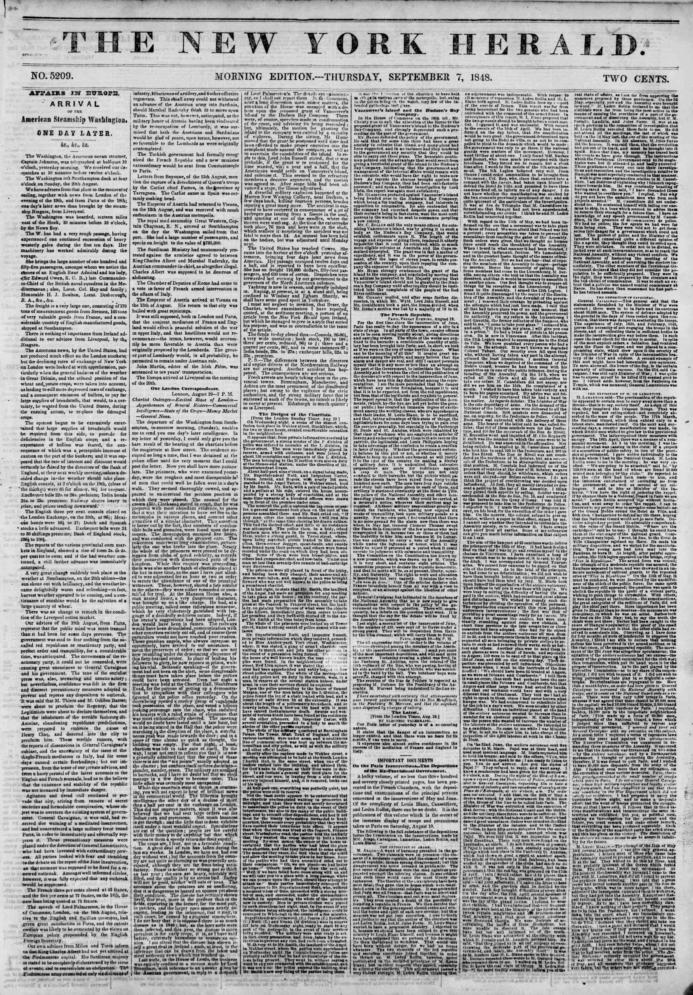 Newspaper of The New York Herald dated September 7, 1848 Page 1