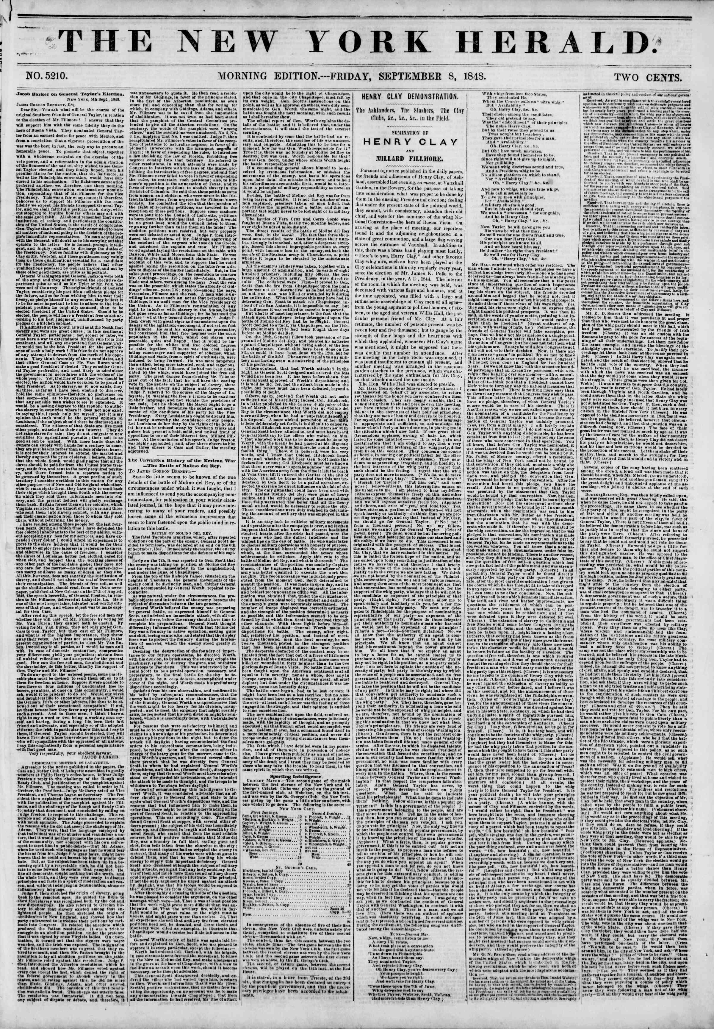 8 Eylül 1848 tarihli The New York Herald Gazetesi Sayfa 1