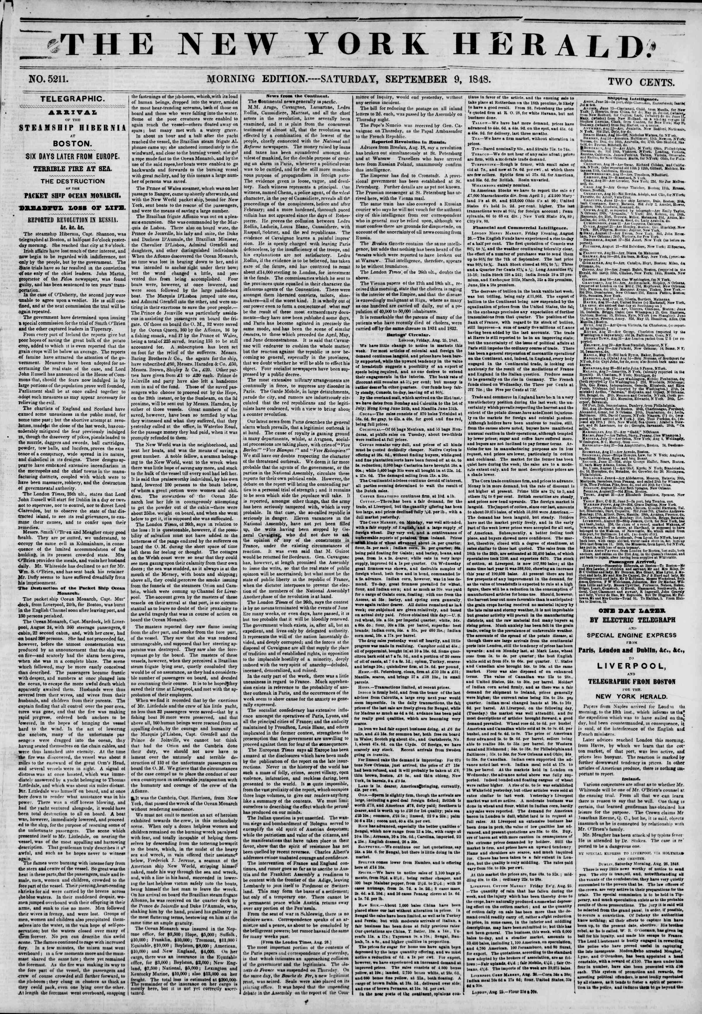 Newspaper of The New York Herald dated September 9, 1848 Page 1