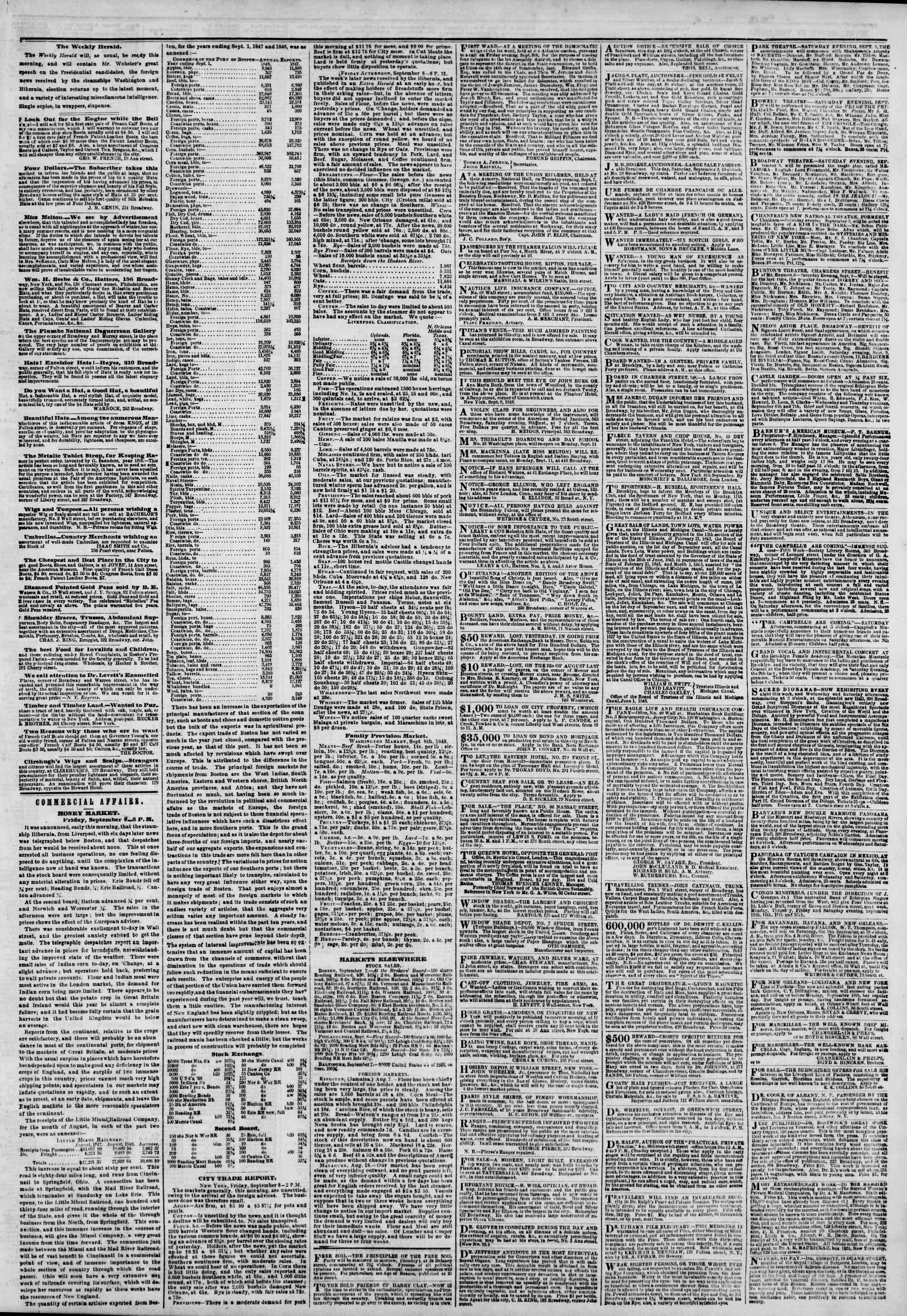 Newspaper of The New York Herald dated September 9, 1848 Page 3