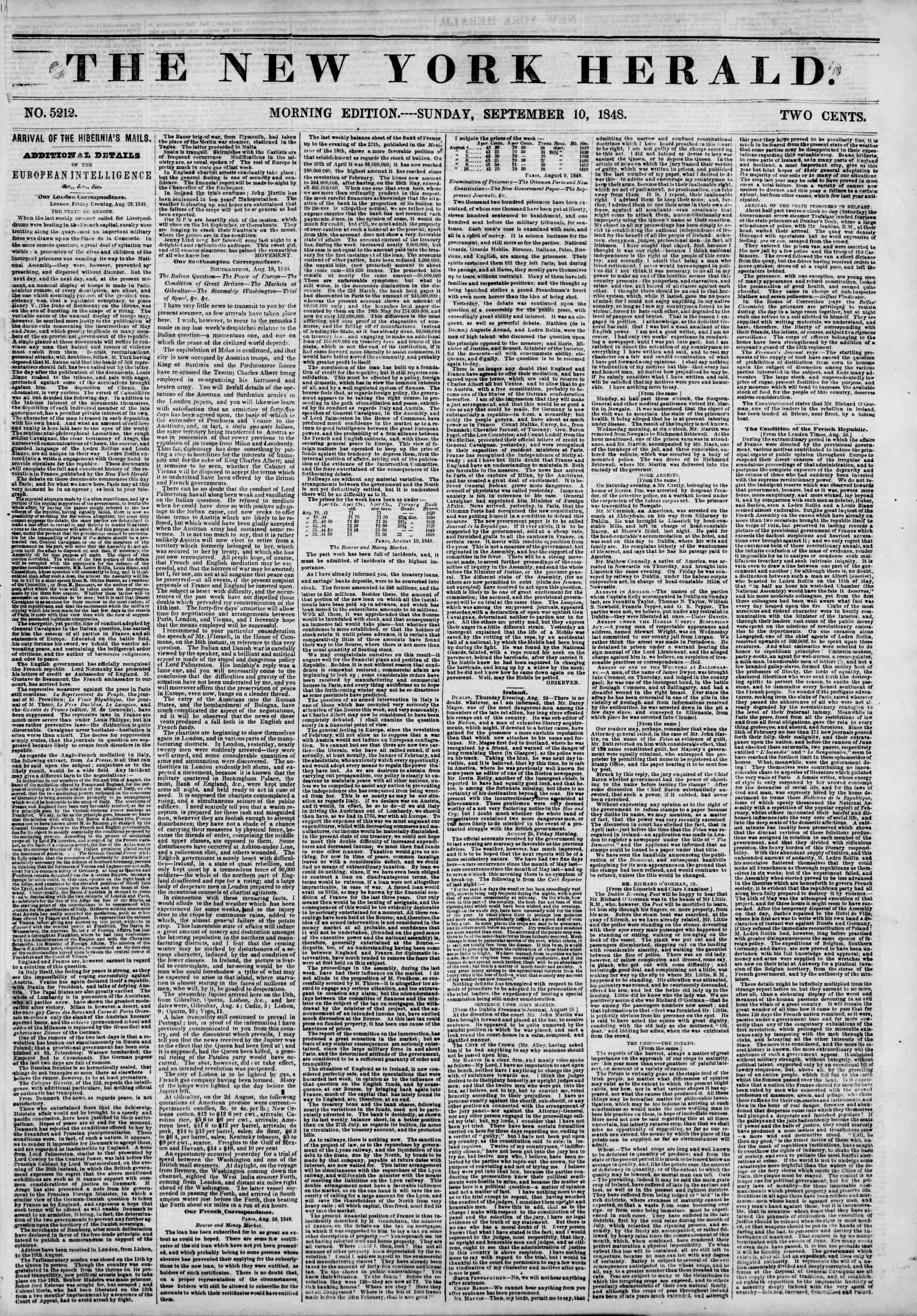 Newspaper of The New York Herald dated September 10, 1848 Page 1