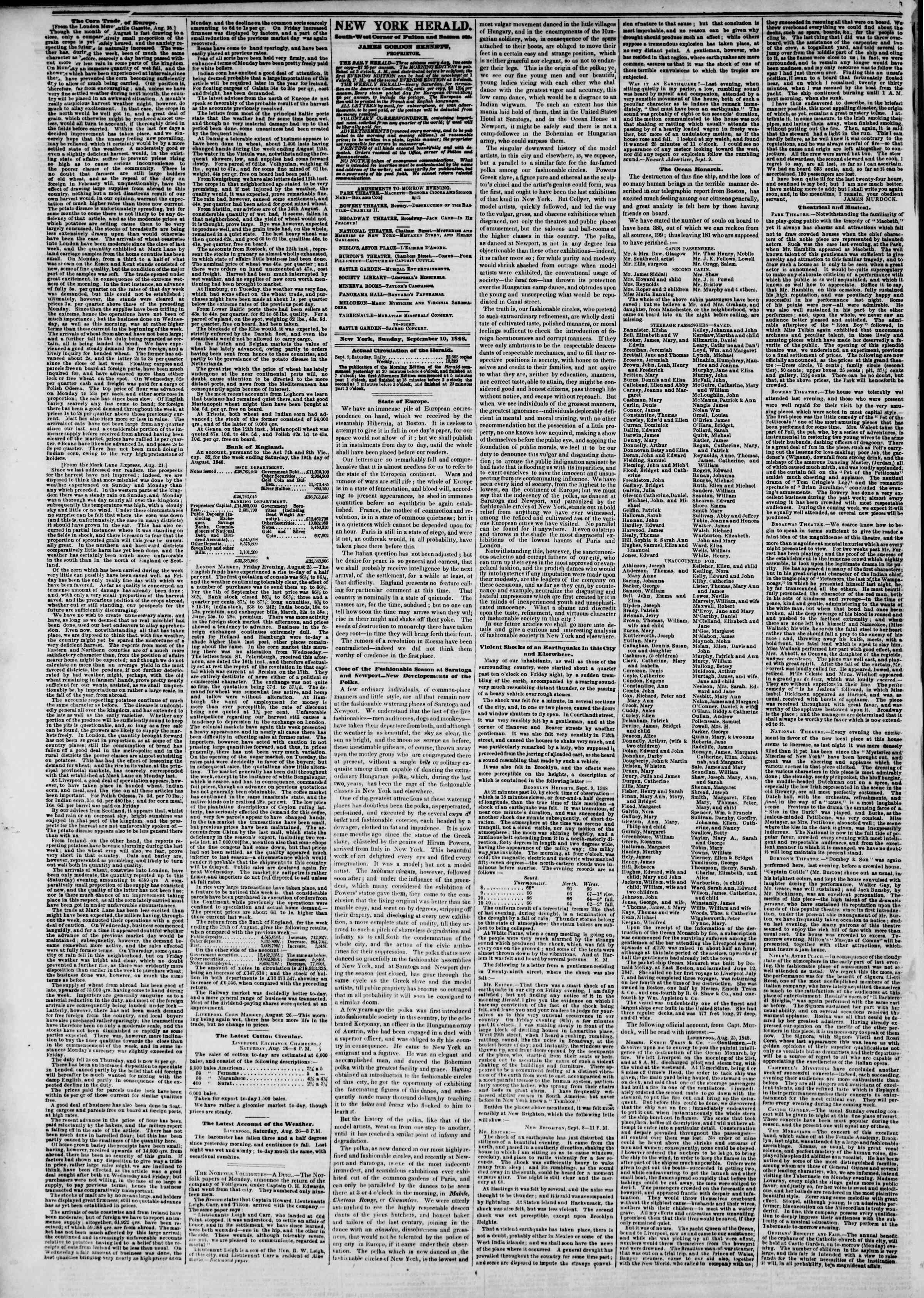 Newspaper of The New York Herald dated September 10, 1848 Page 2