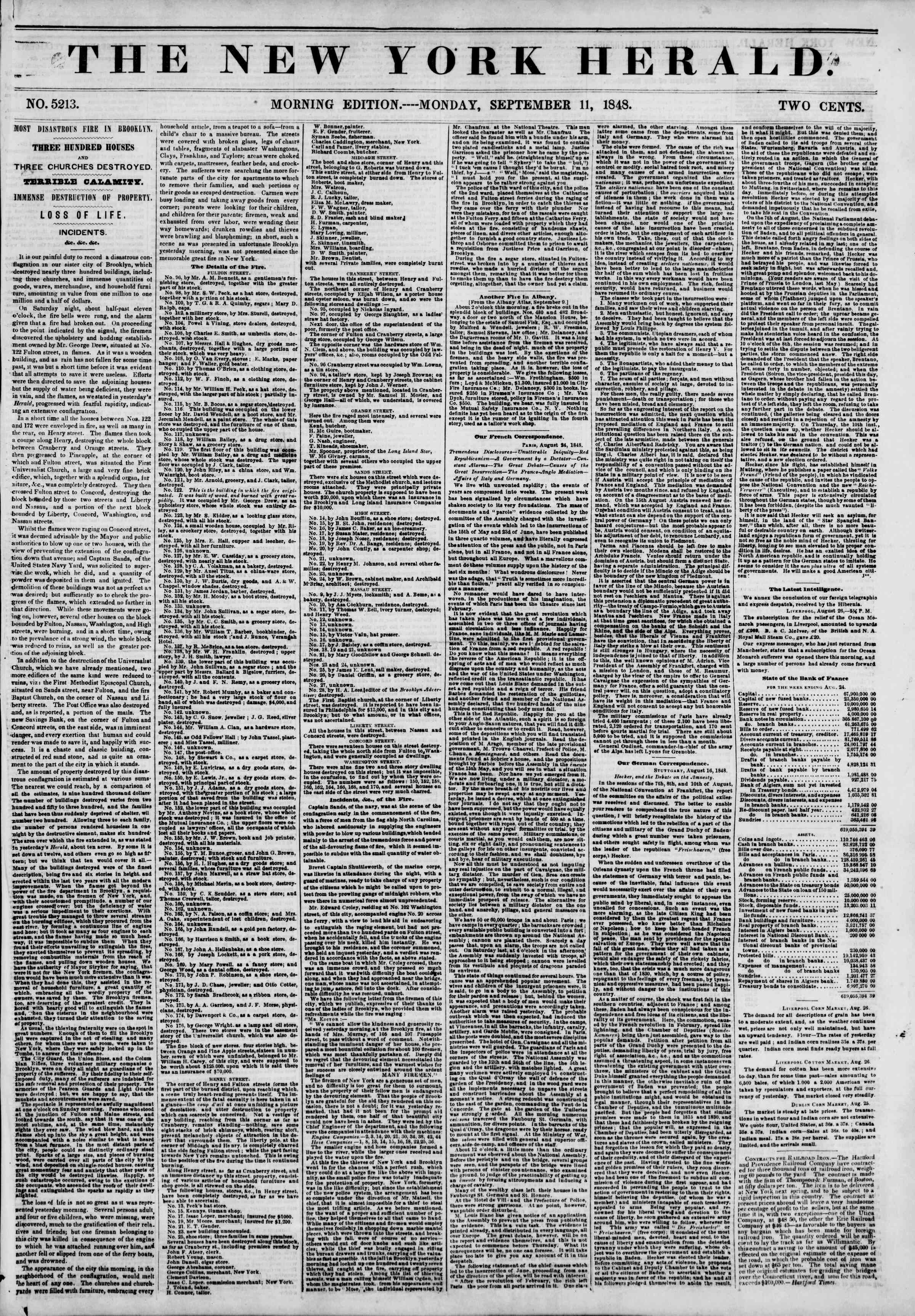 Newspaper of The New York Herald dated September 11, 1848 Page 1