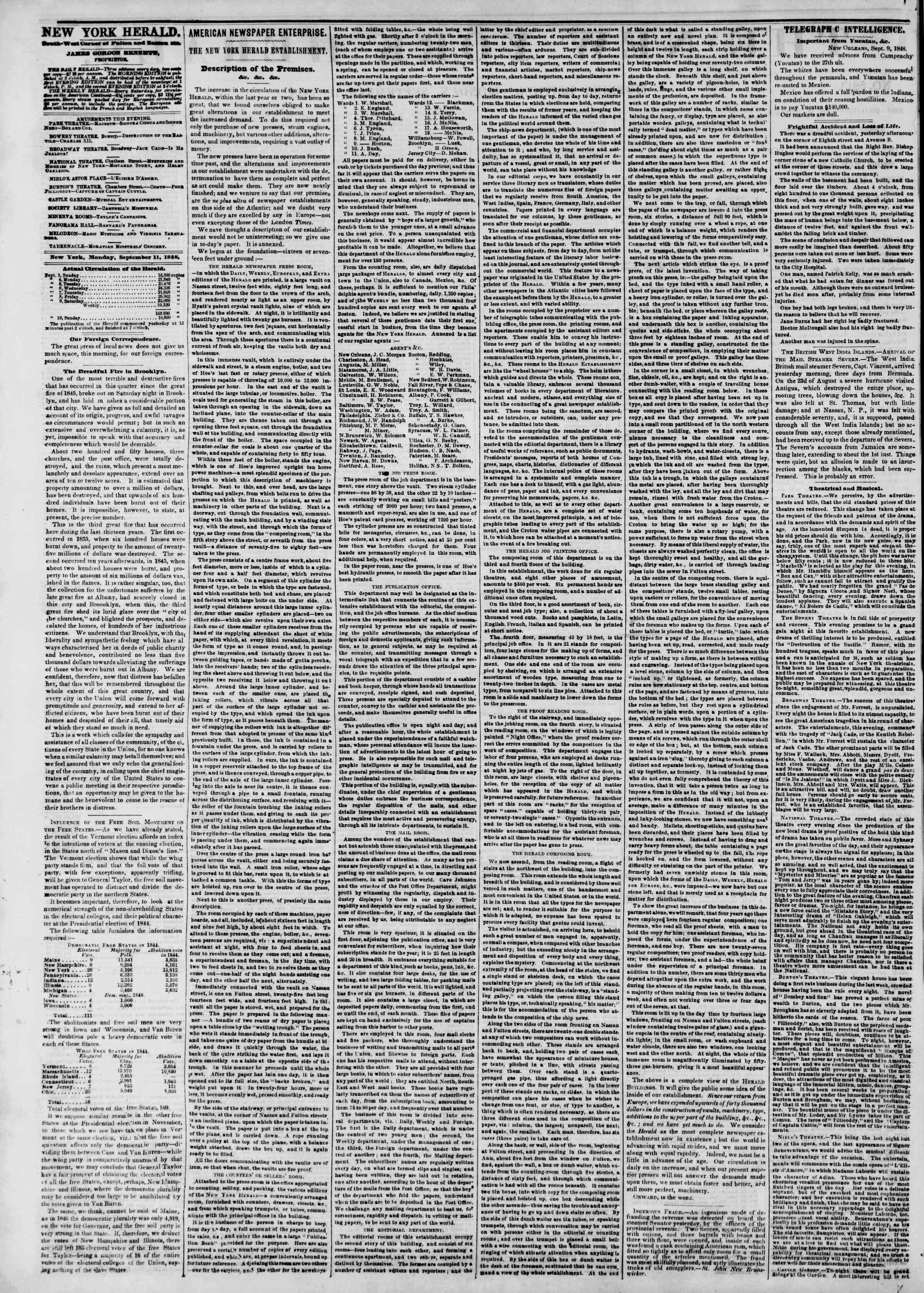 Newspaper of The New York Herald dated September 11, 1848 Page 2