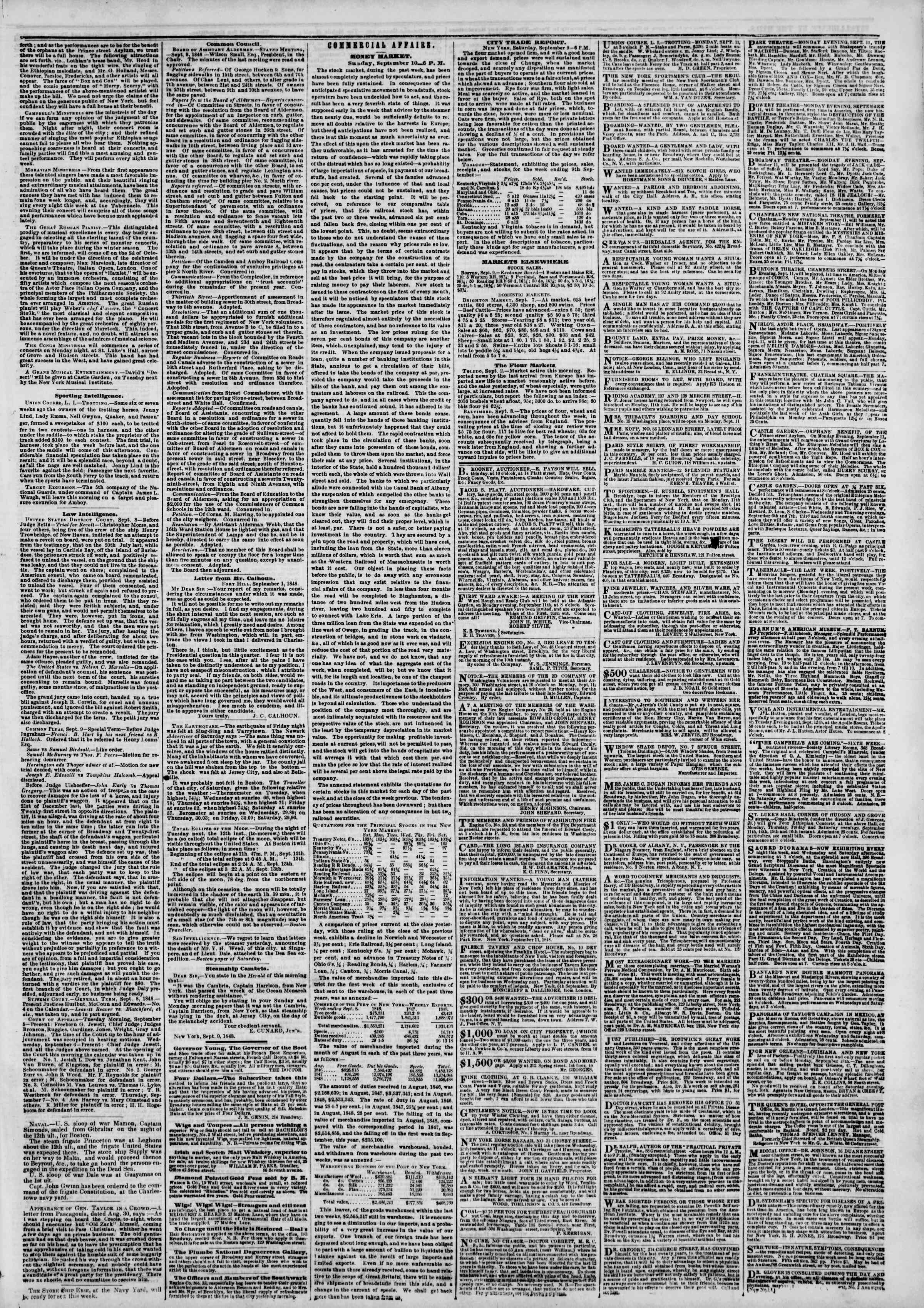 Newspaper of The New York Herald dated September 11, 1848 Page 3