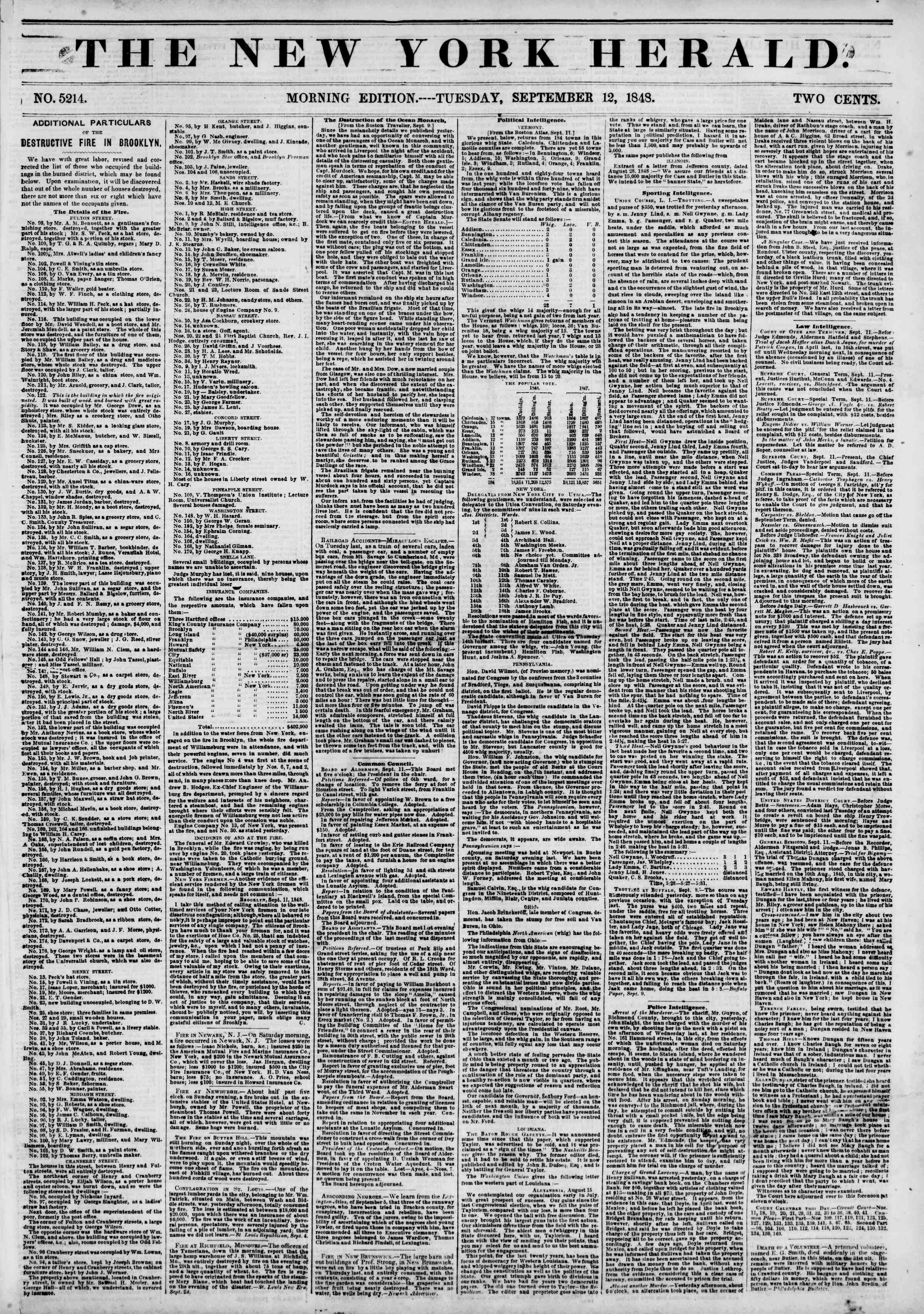Newspaper of The New York Herald dated September 12, 1848 Page 1
