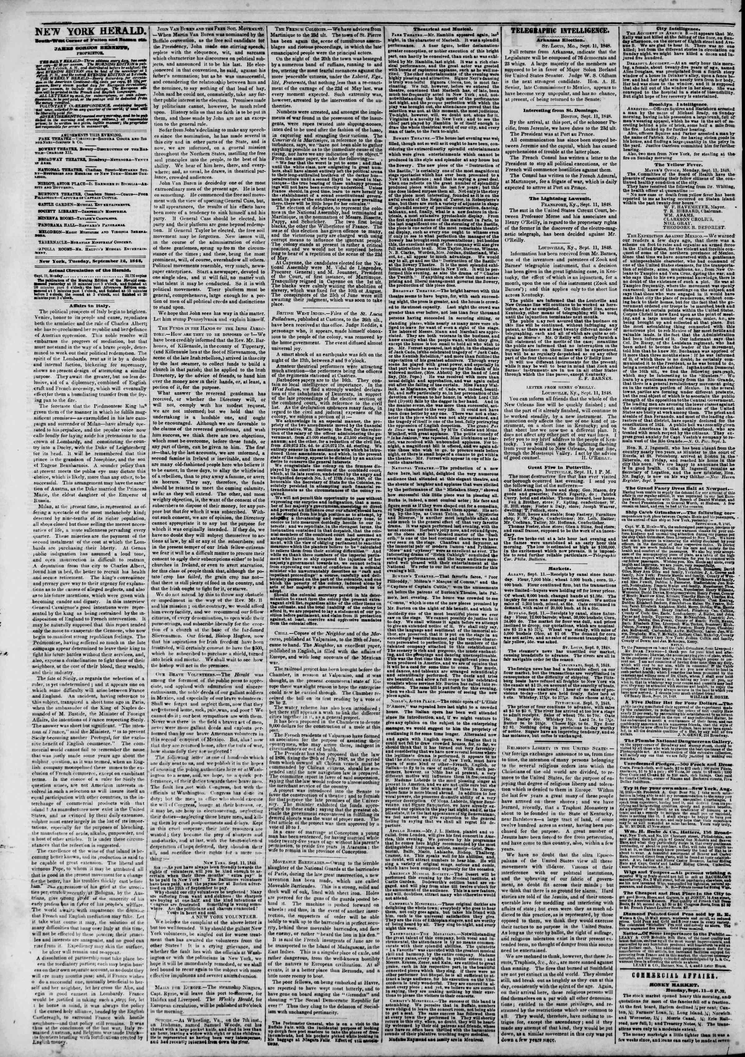 12 Eylül 1848 tarihli The New York Herald Gazetesi Sayfa 2