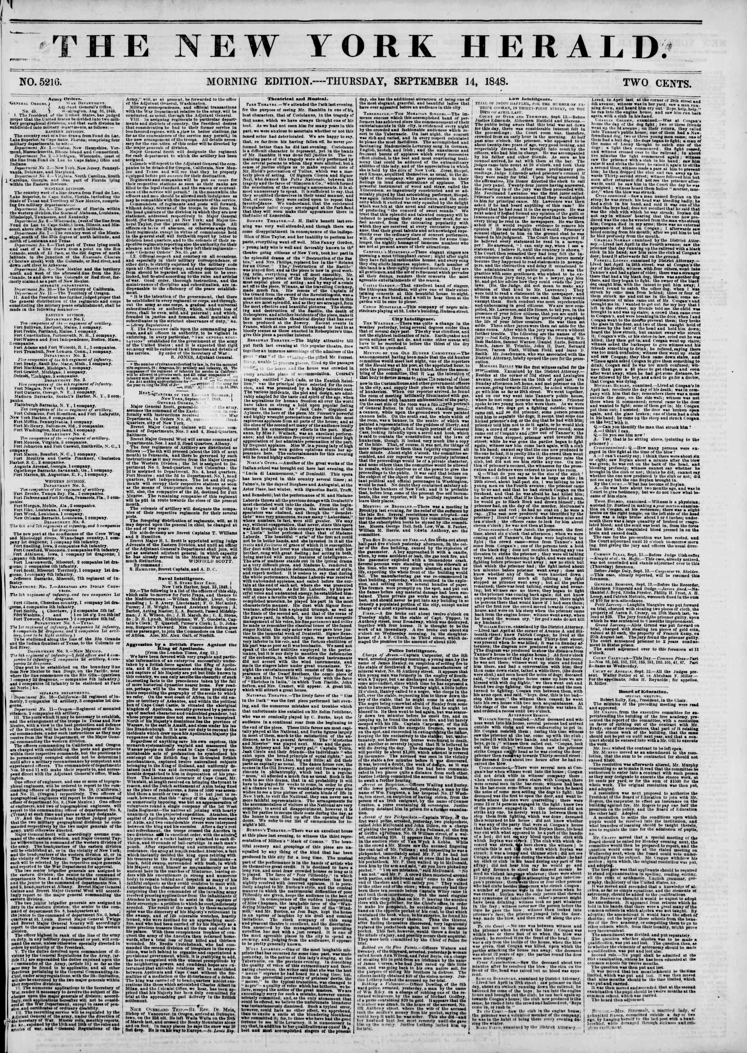 Newspaper of The New York Herald dated September 14, 1848 Page 1