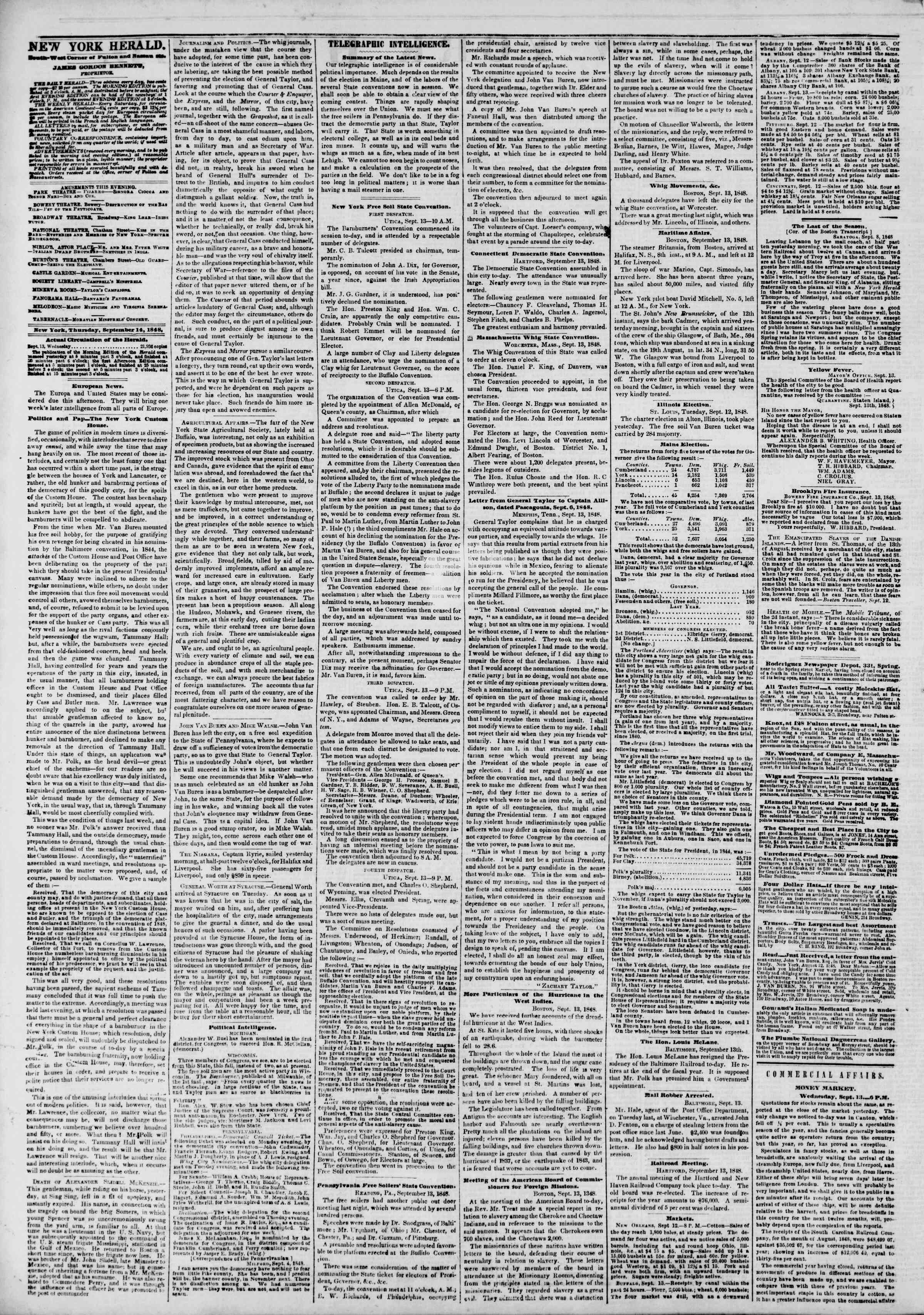 Newspaper of The New York Herald dated September 14, 1848 Page 2