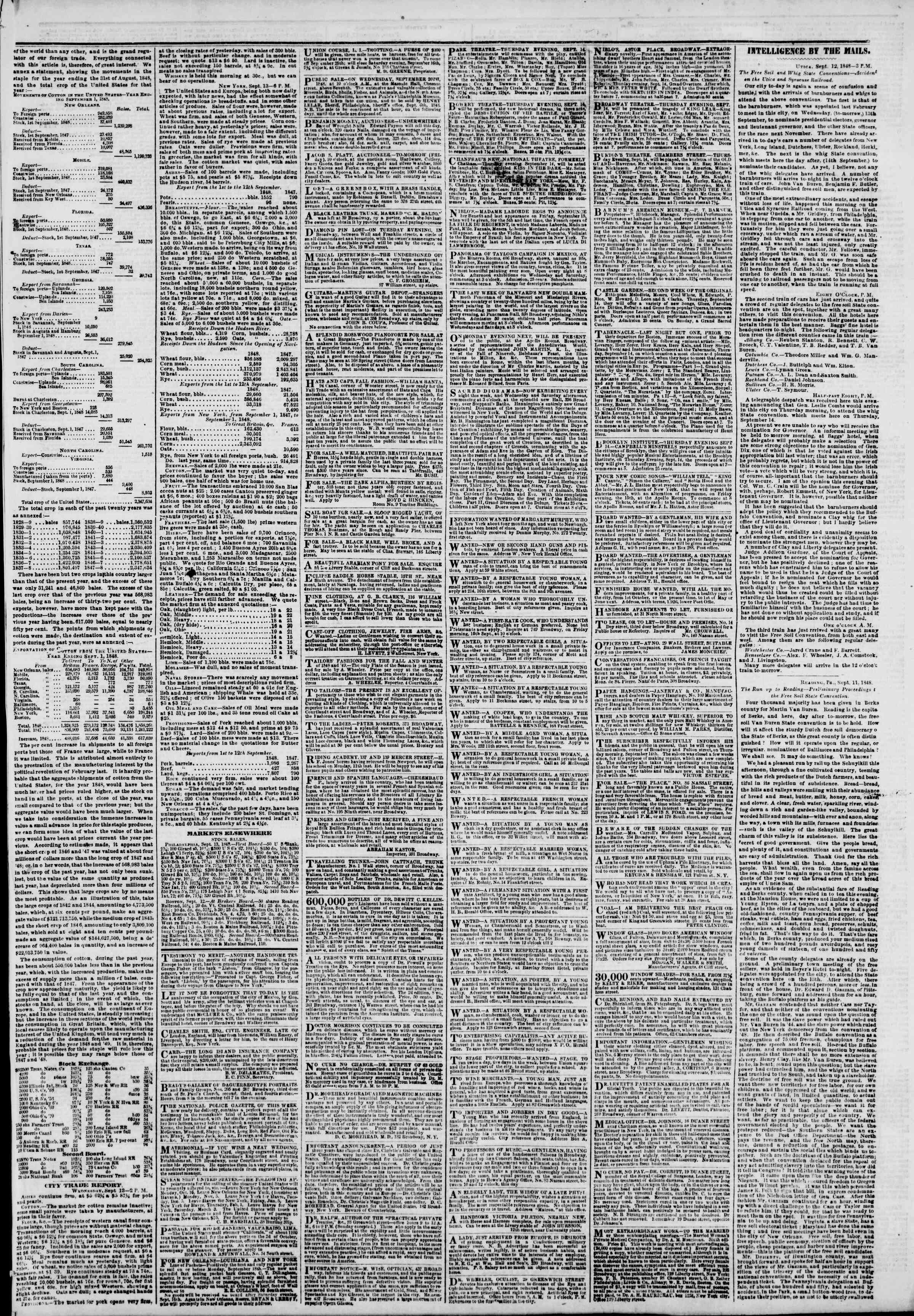 Newspaper of The New York Herald dated September 14, 1848 Page 3
