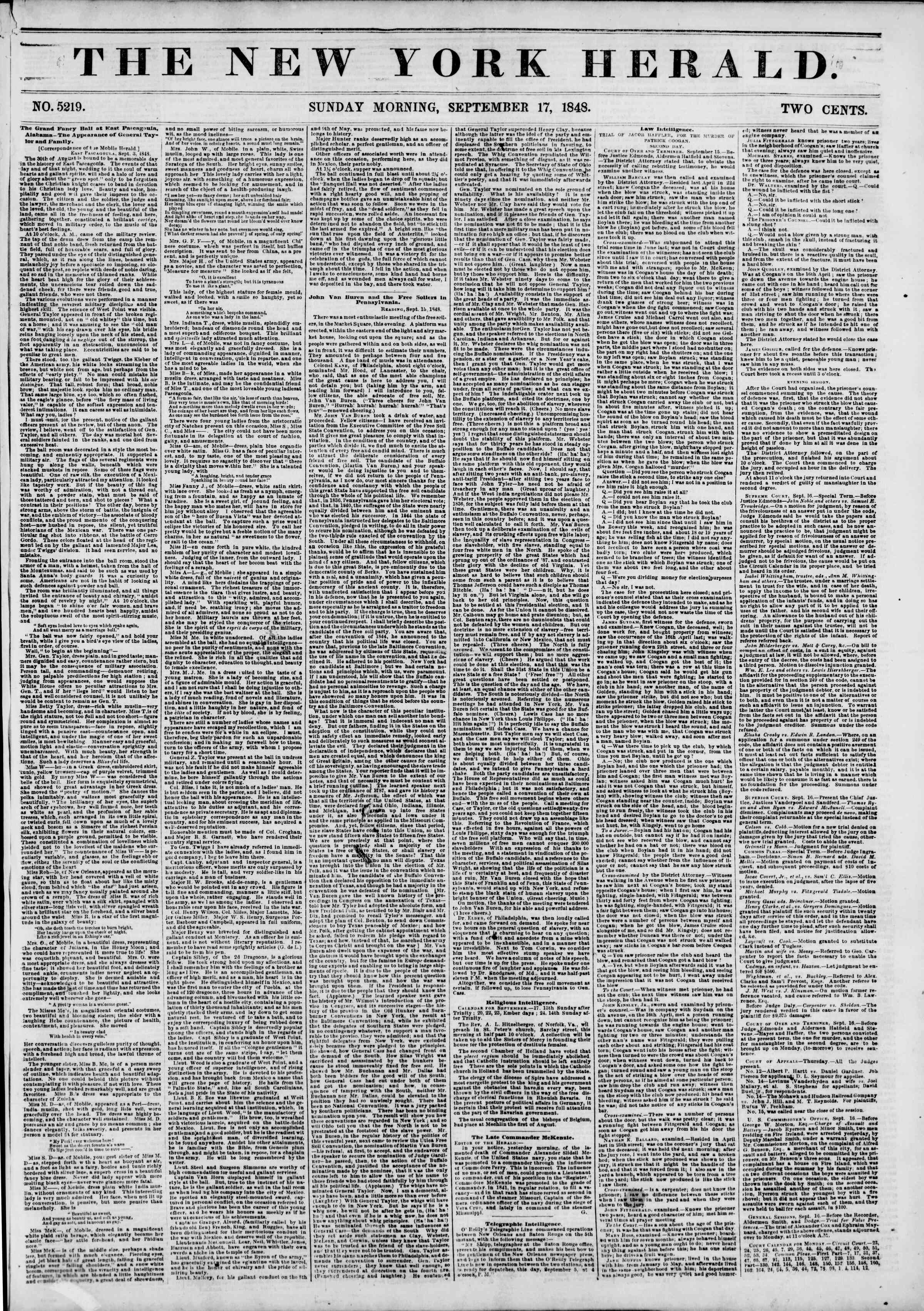 Newspaper of The New York Herald dated September 17, 1848 Page 1