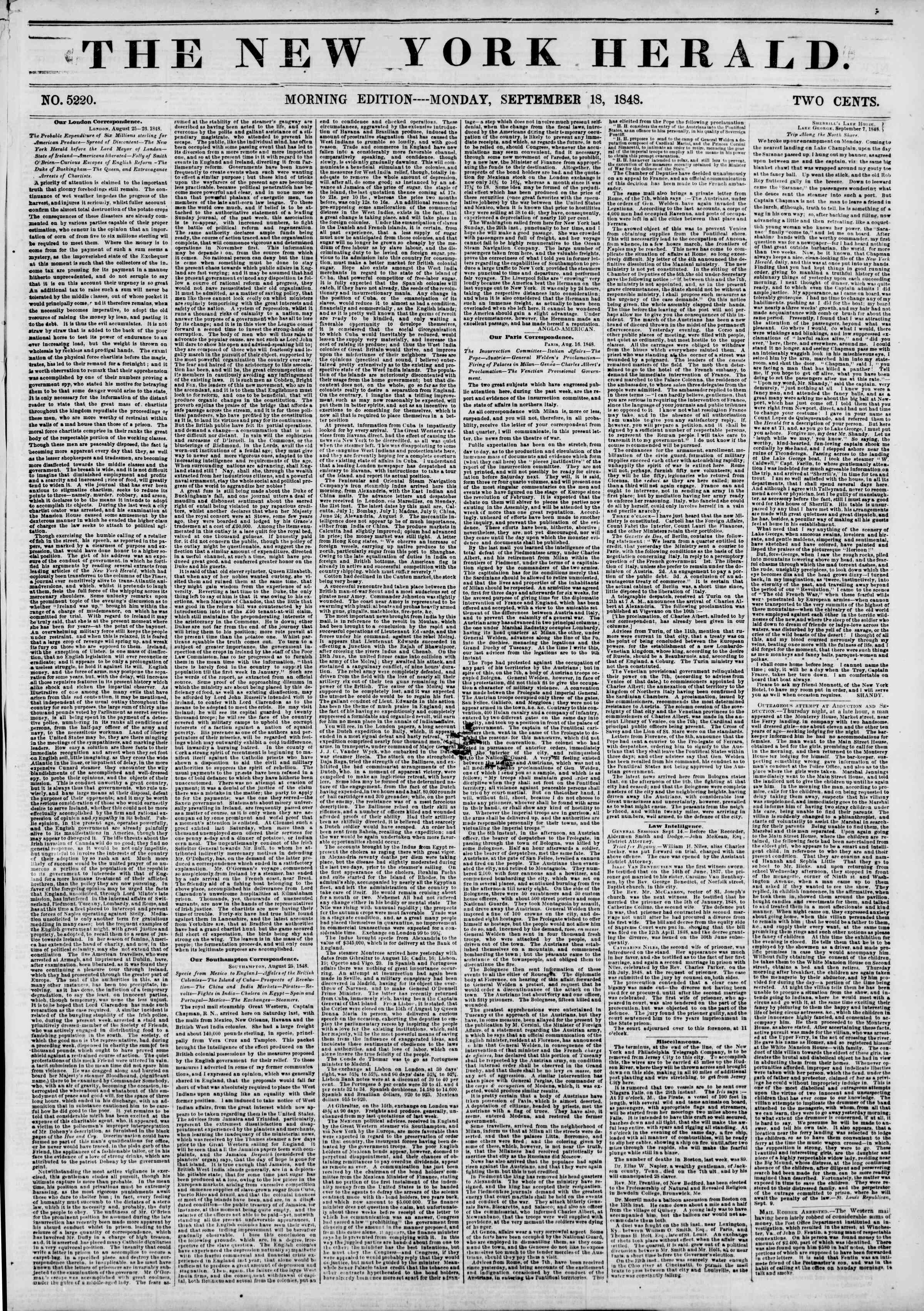 Newspaper of The New York Herald dated September 18, 1848 Page 1
