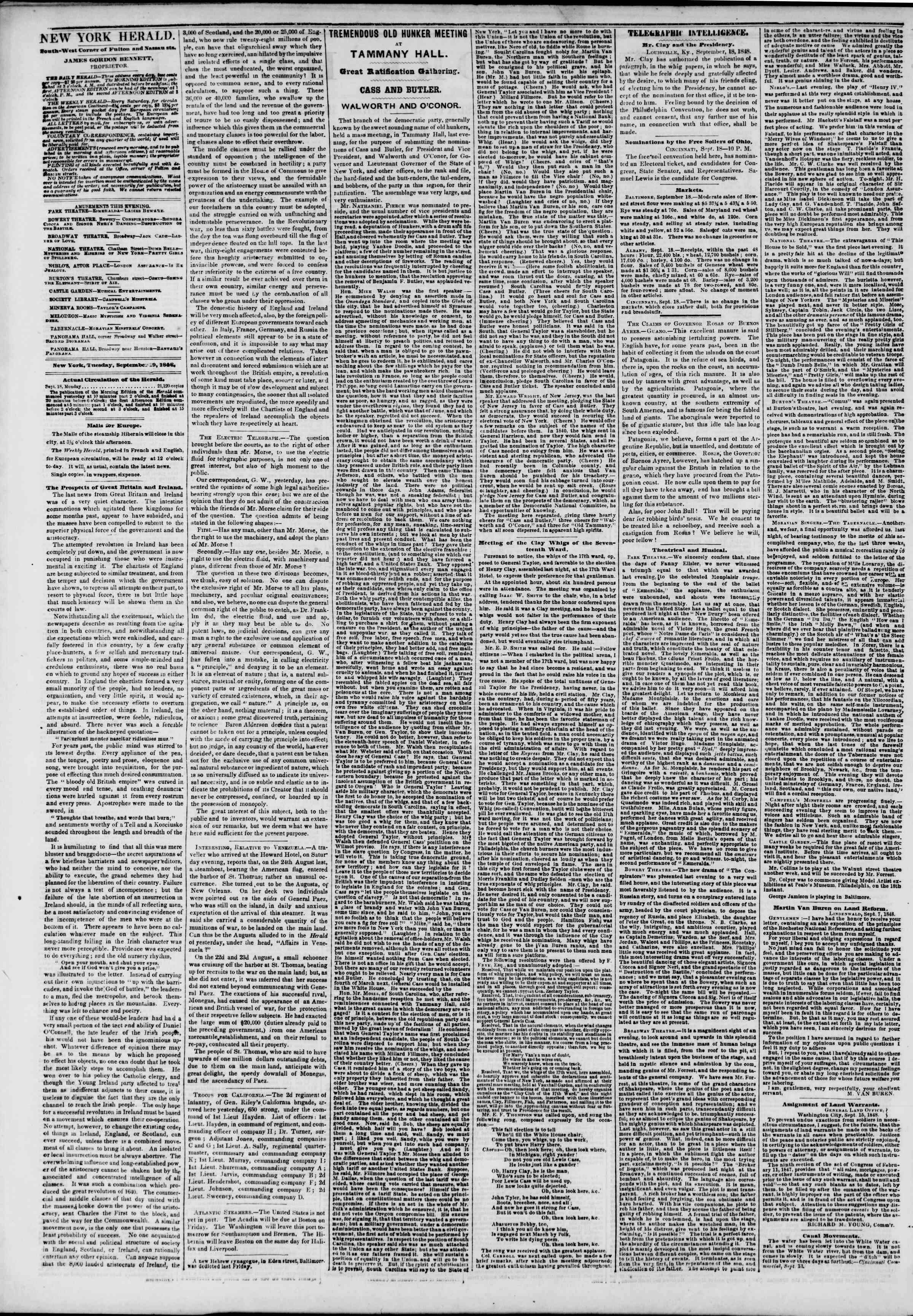 Newspaper of The New York Herald dated September 19, 1848 Page 2