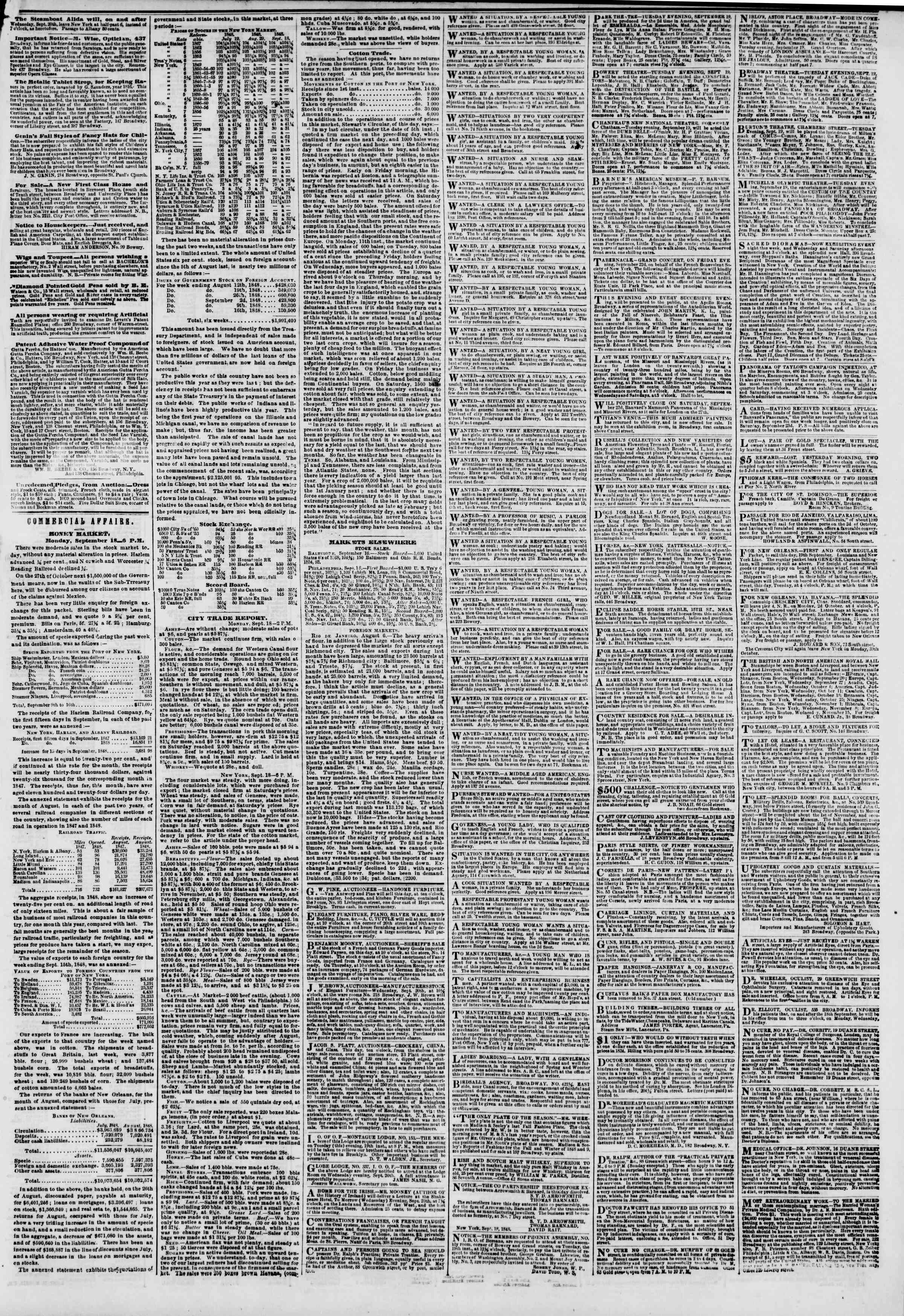 Newspaper of The New York Herald dated September 19, 1848 Page 3