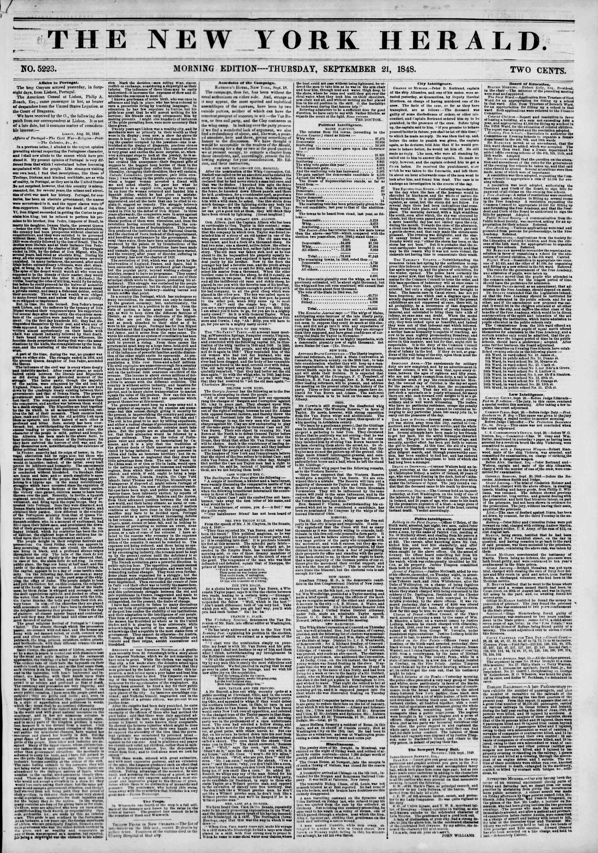 Newspaper of The New York Herald dated September 21, 1848 Page 1
