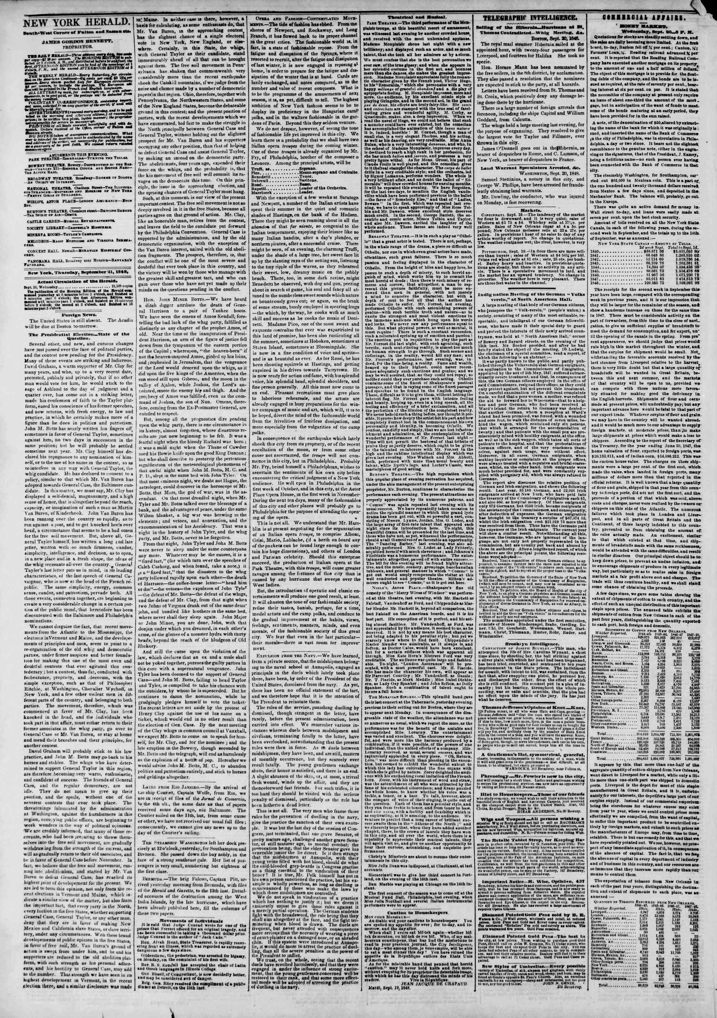 Newspaper of The New York Herald dated September 21, 1848 Page 2