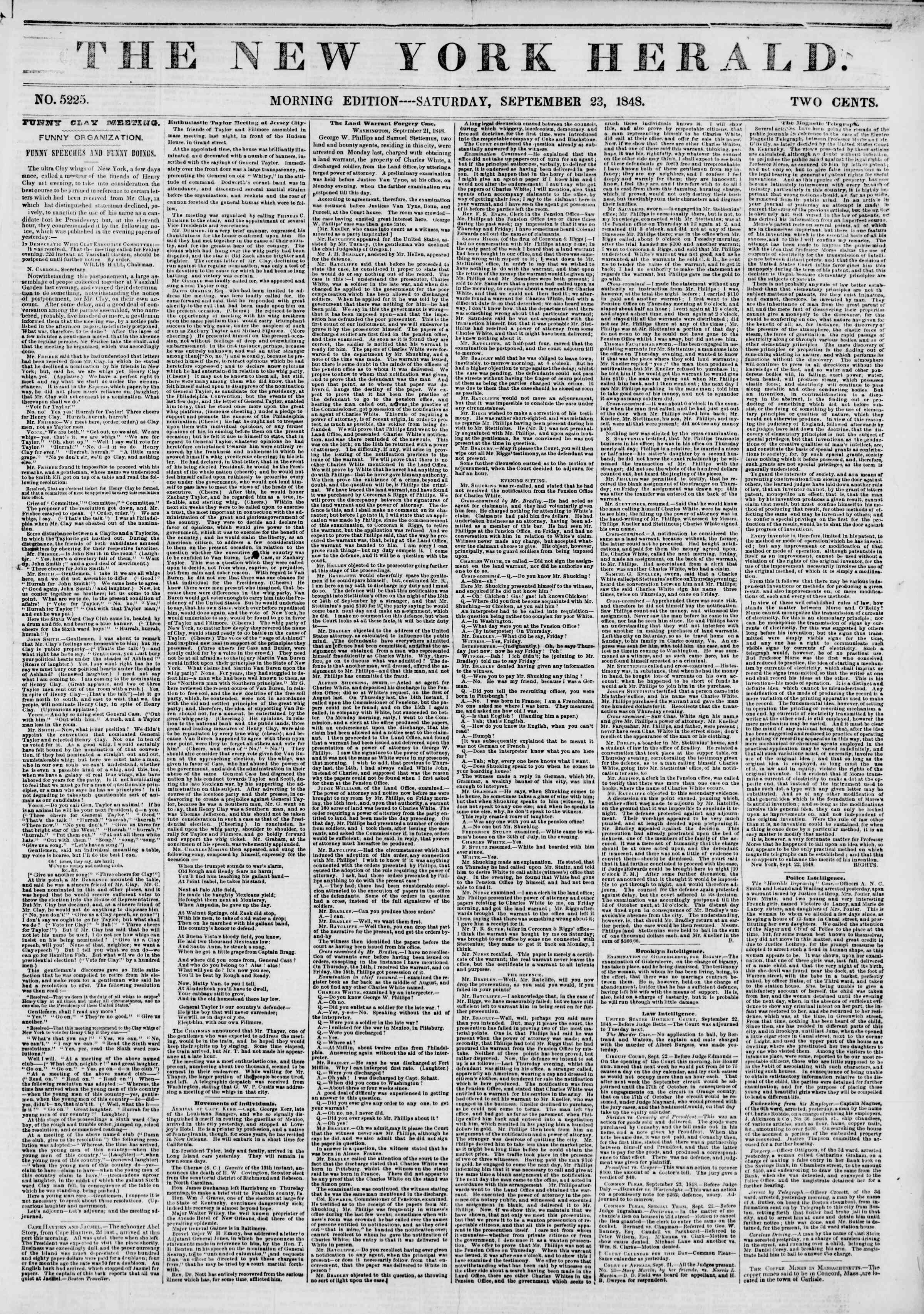 Newspaper of The New York Herald dated September 23, 1848 Page 1